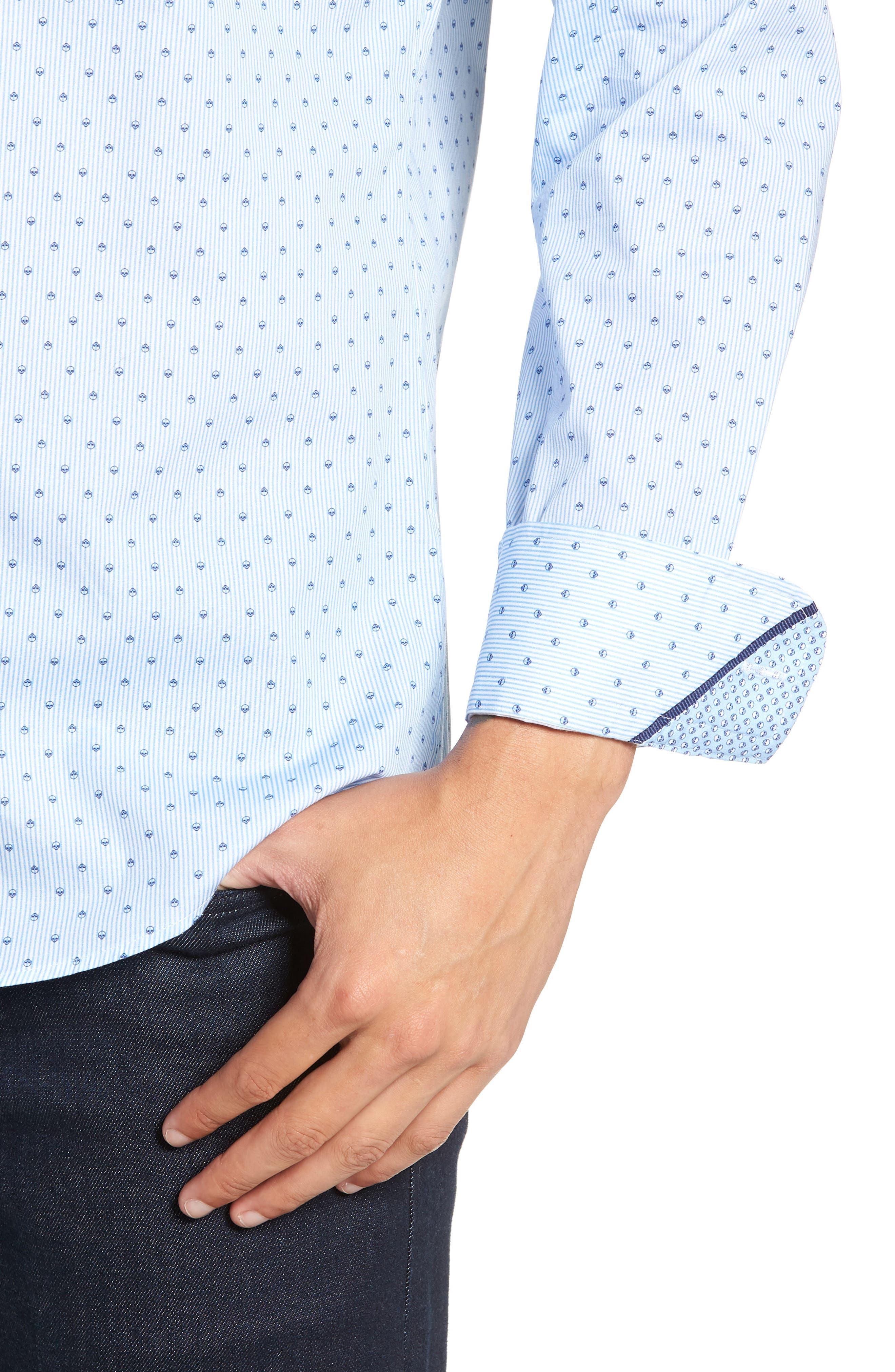 Trim Fit Print Sport Shirt,                             Alternate thumbnail 2, color,                             BLUE