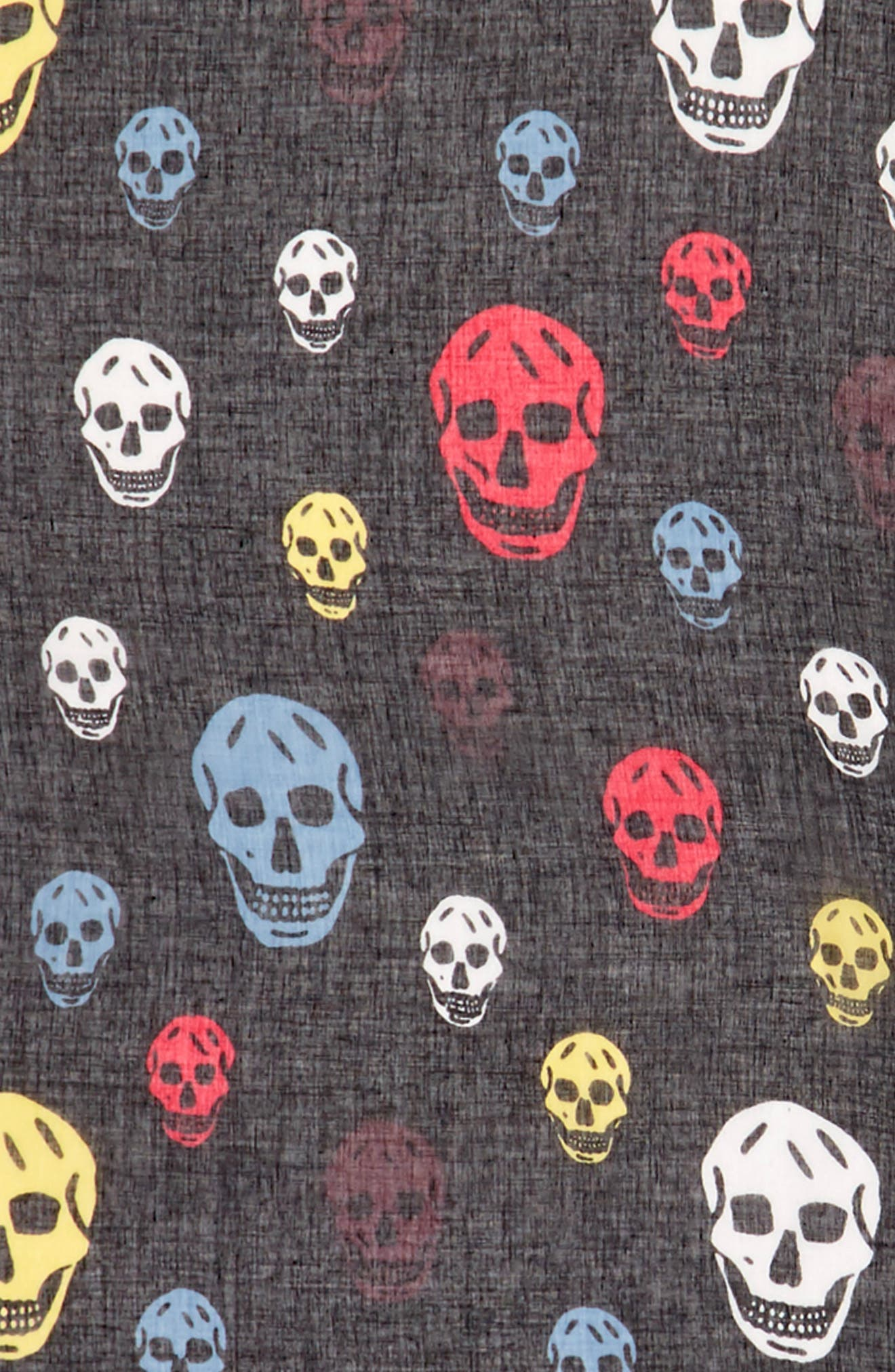 Multicolor Skull Silk & Modal Scarf,                             Alternate thumbnail 5, color,