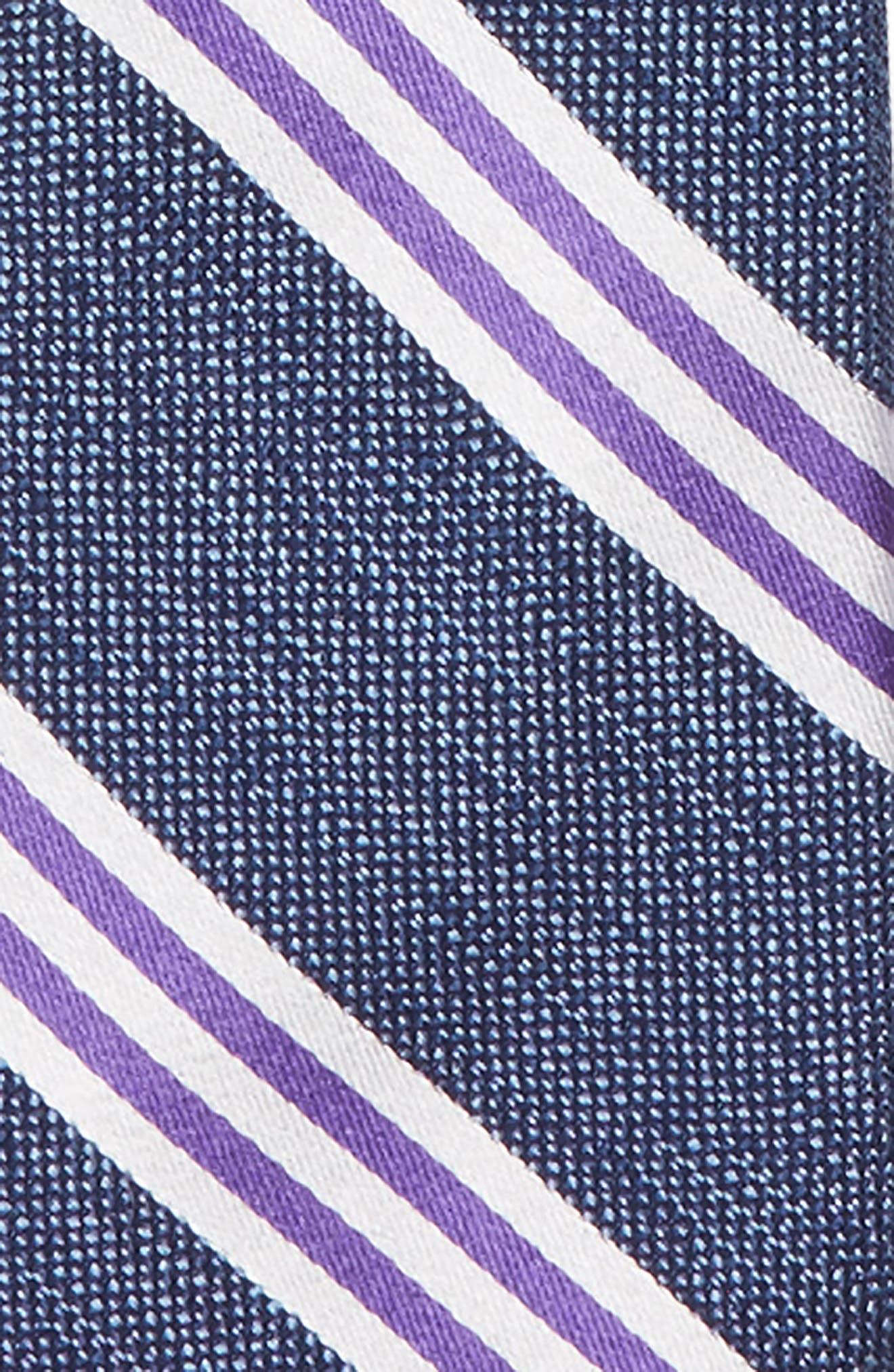 Stripe Silk Zip Tie,                             Alternate thumbnail 2, color,                             PURPLE