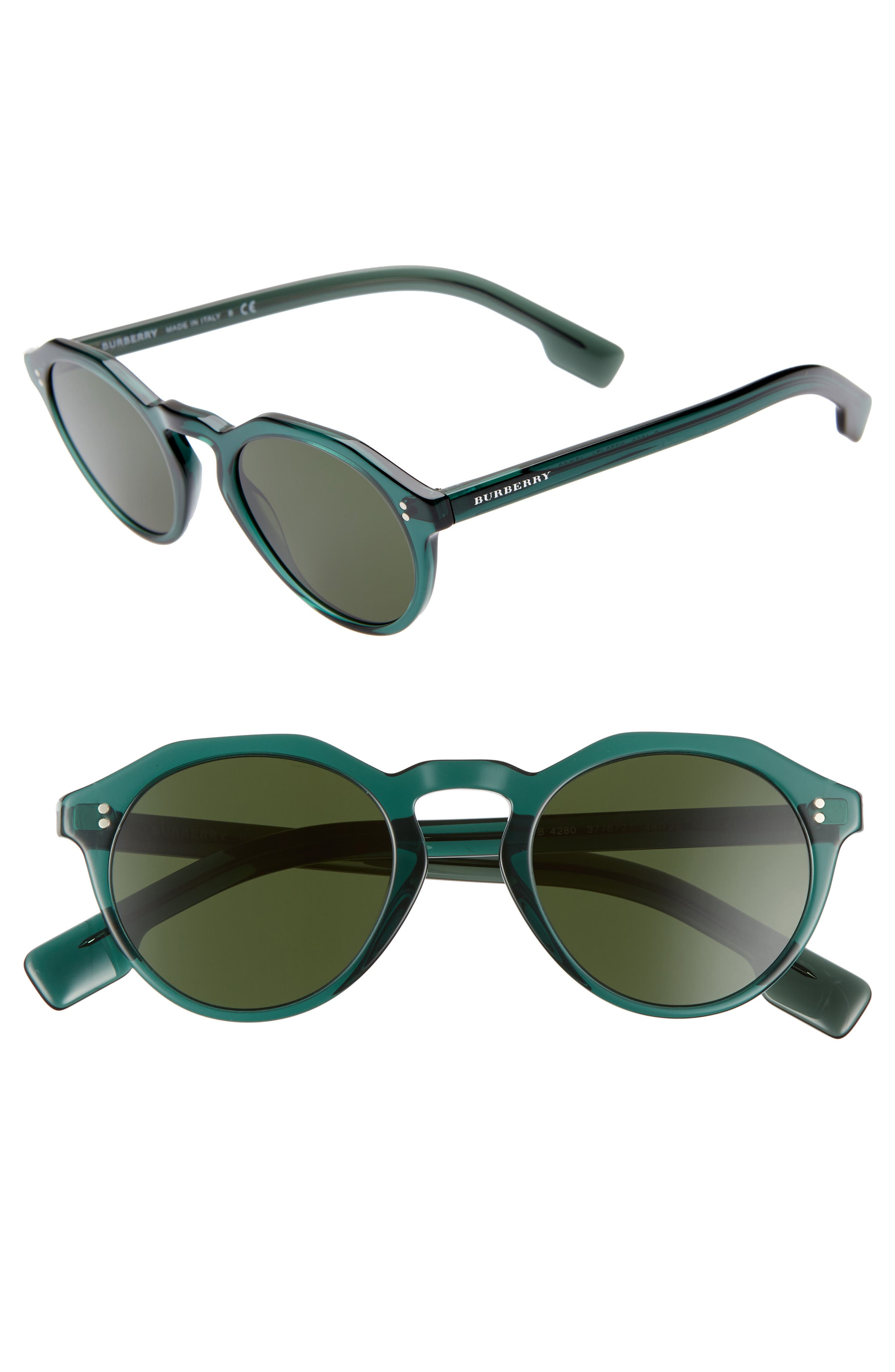 48mm Round Sunglasses,                         Main,                         color, GREEN/ GREEN SOLID