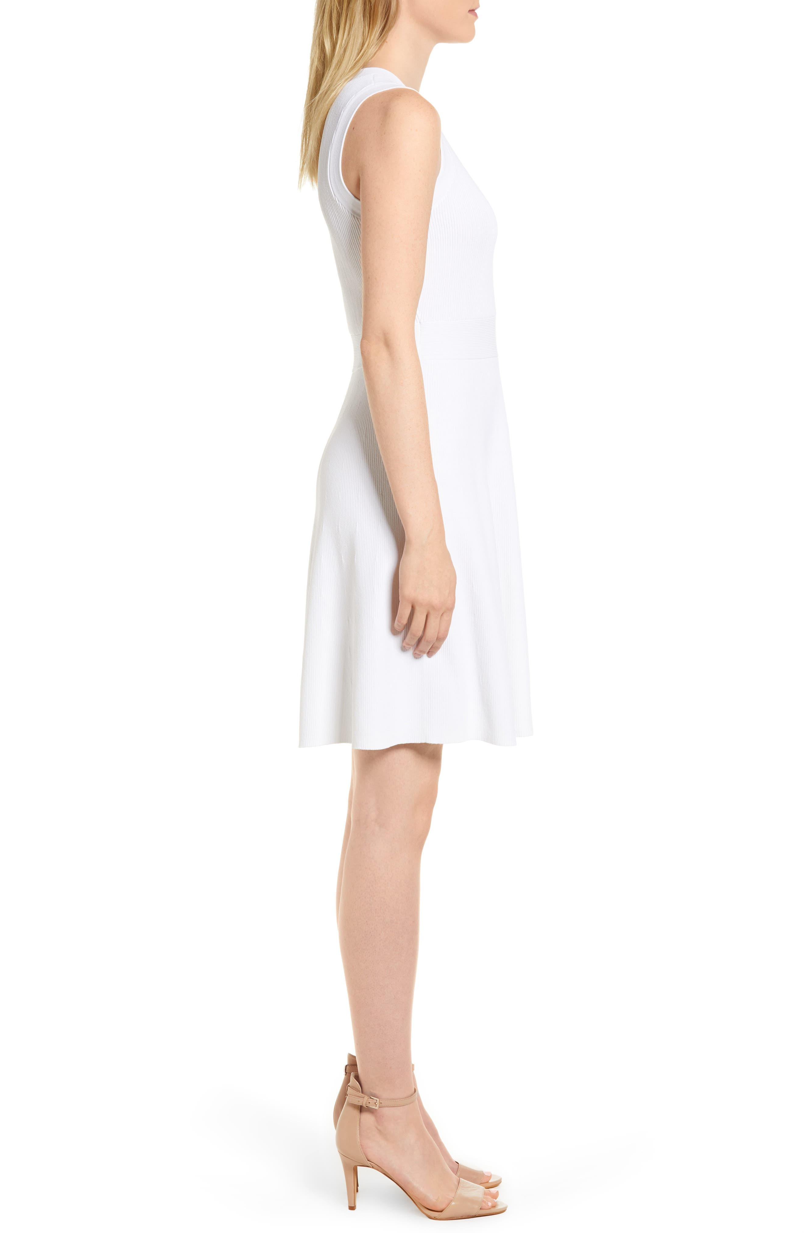 Keyhole Back Fit & Flare Sleeveless Dress,                             Alternate thumbnail 3, color,