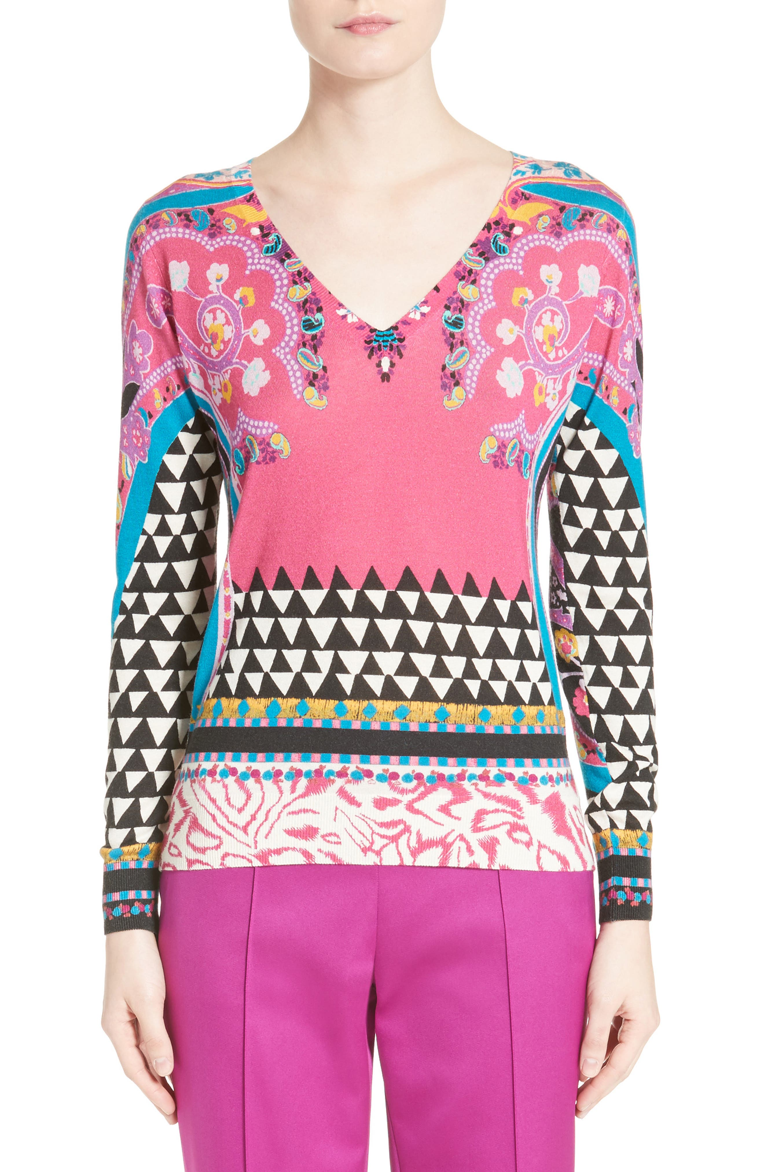 Geo Silk & Cashmere Sweater,                             Main thumbnail 1, color,                             650