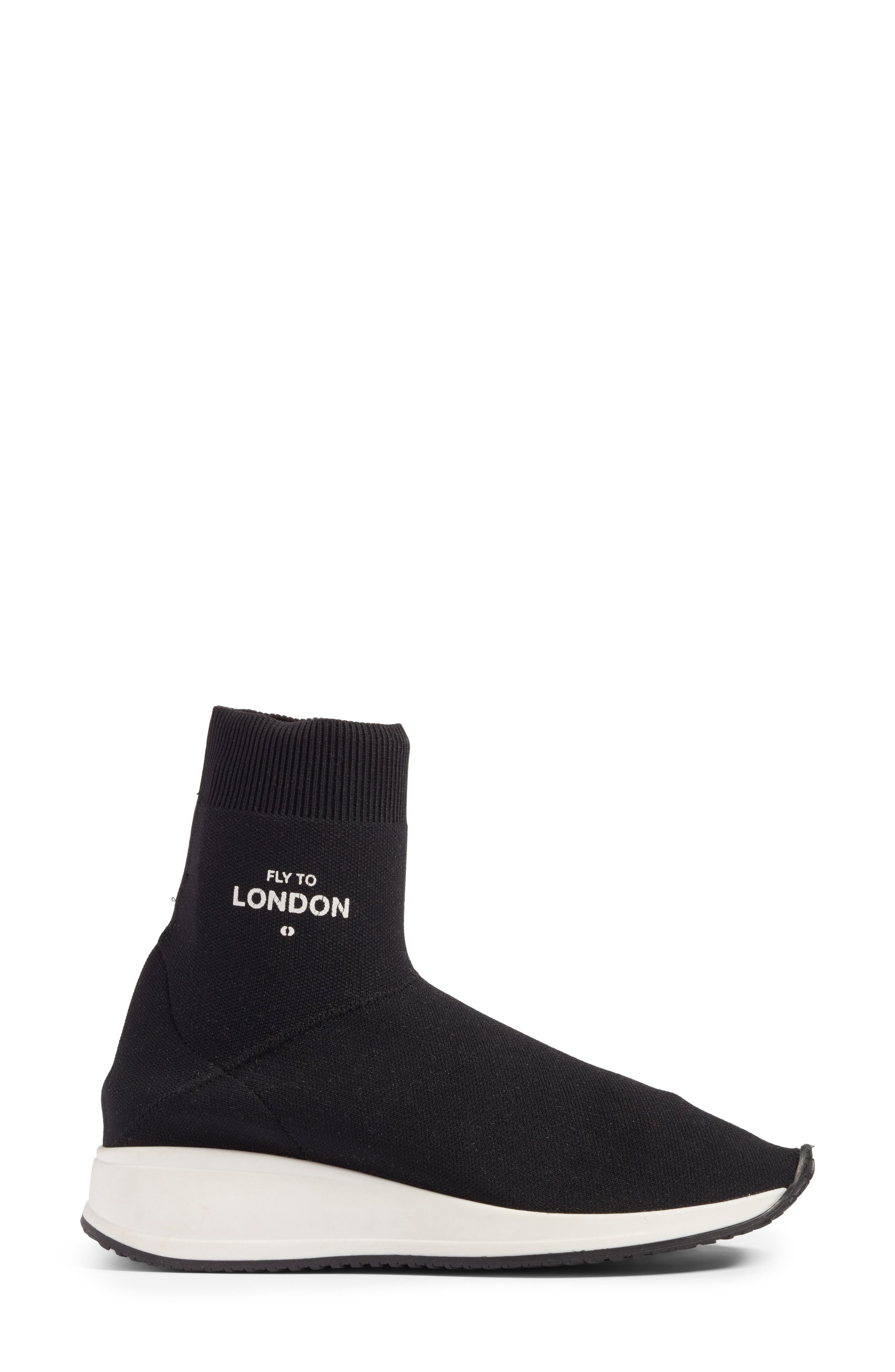 Fly To High Top Sock Sneaker,                             Alternate thumbnail 3, color,                             002