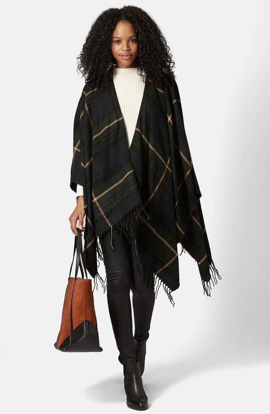 TOPSHOP,                             Checked Cape,                             Alternate thumbnail 3, color,                             400