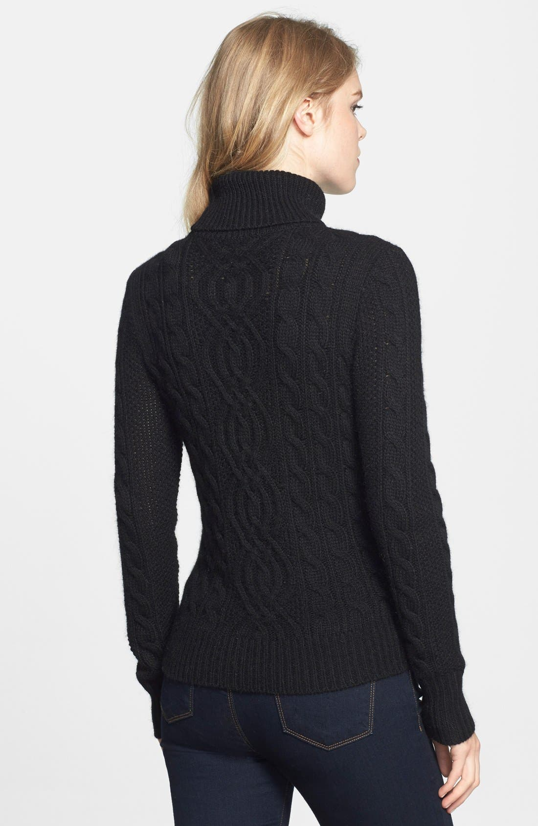 Cable Knit Turtleneck Sweater,                             Alternate thumbnail 3, color,                             001