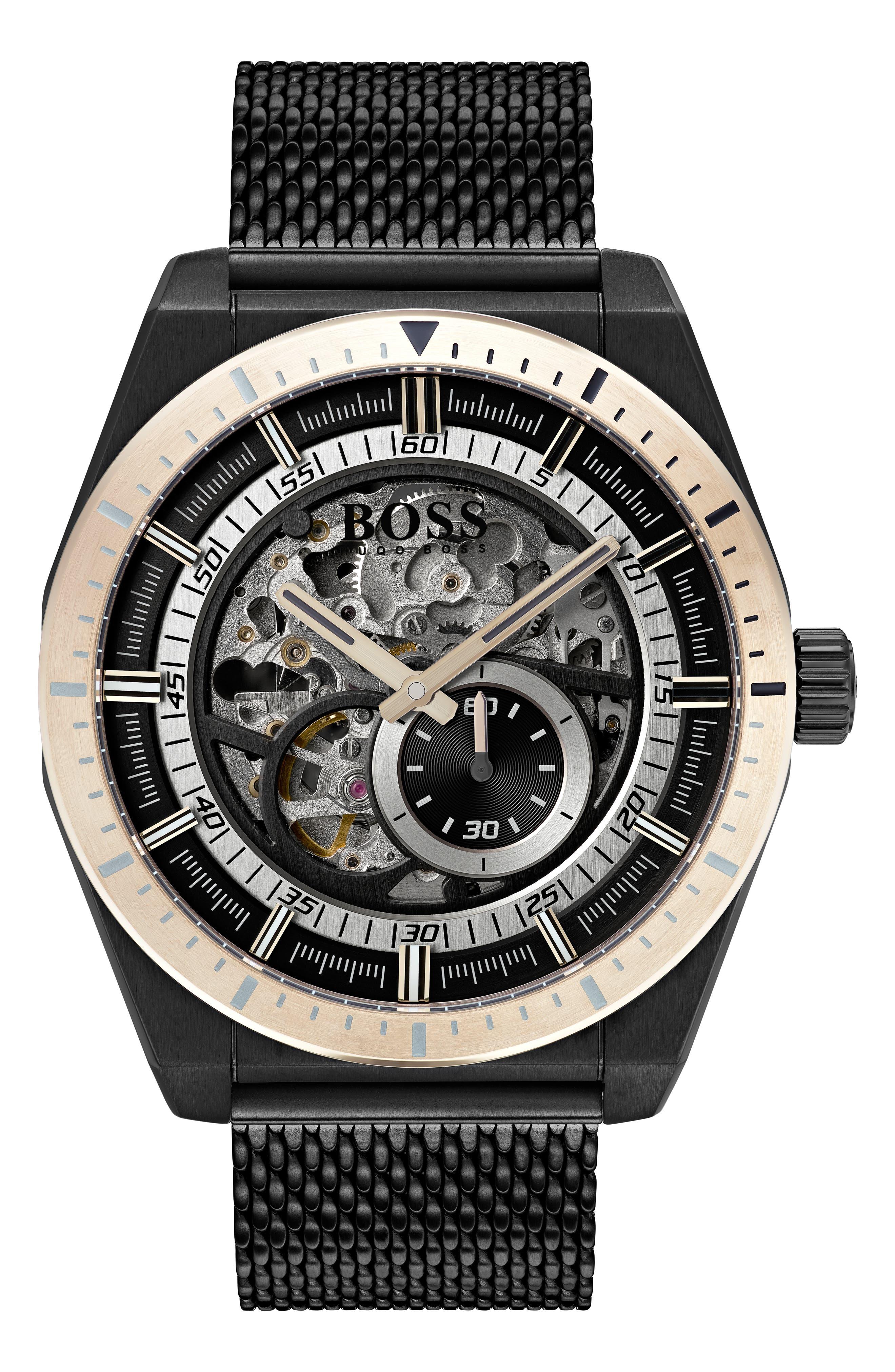 Signature Timepiece Collection Automatic Mesh Bracelet Watch, 44mm,                             Main thumbnail 1, color,                             SKELETON/ BLACK