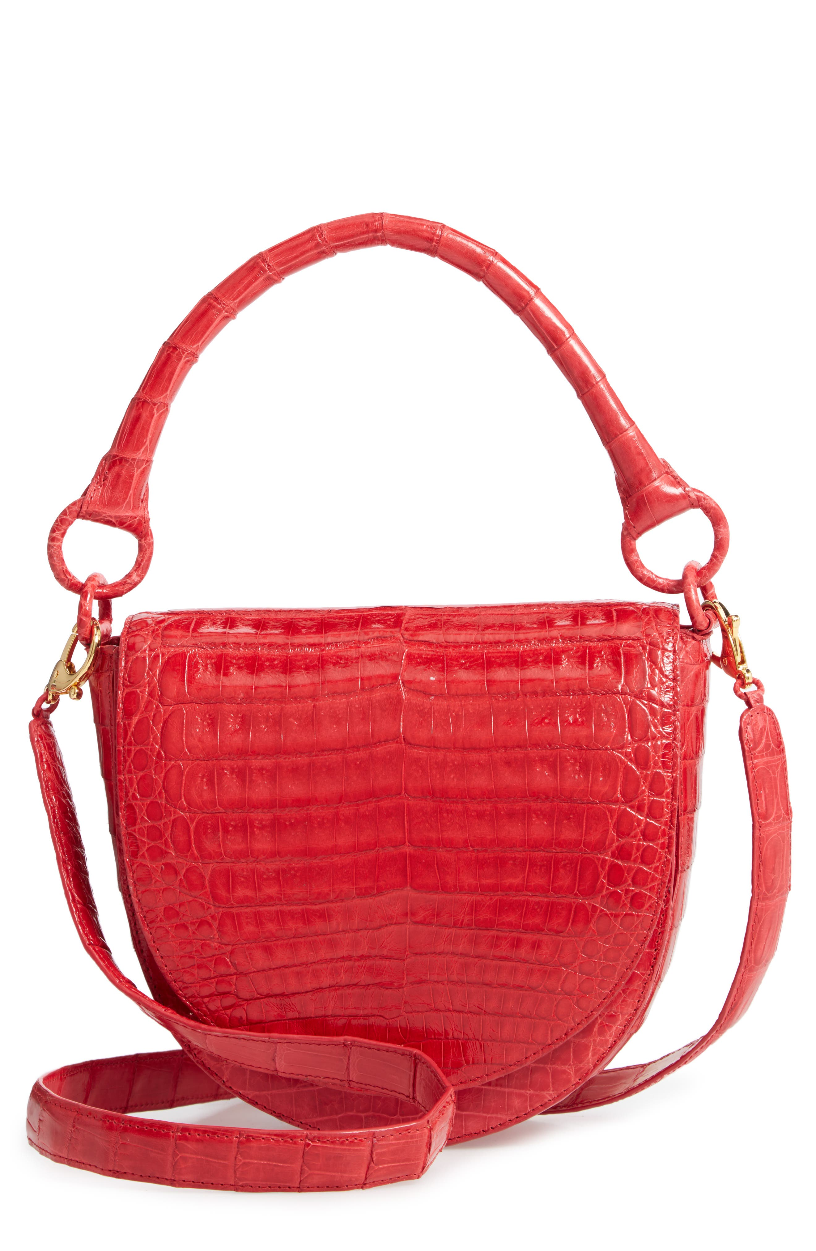 Small Teddy Crocodile Leather Crossbody Bag, Main, color, RED SHINY