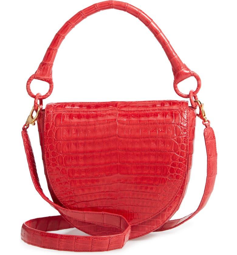 Nancy Gonzalez SMALL TEDDY CROCODILE LEATHER CROSSBODY BAG - RED