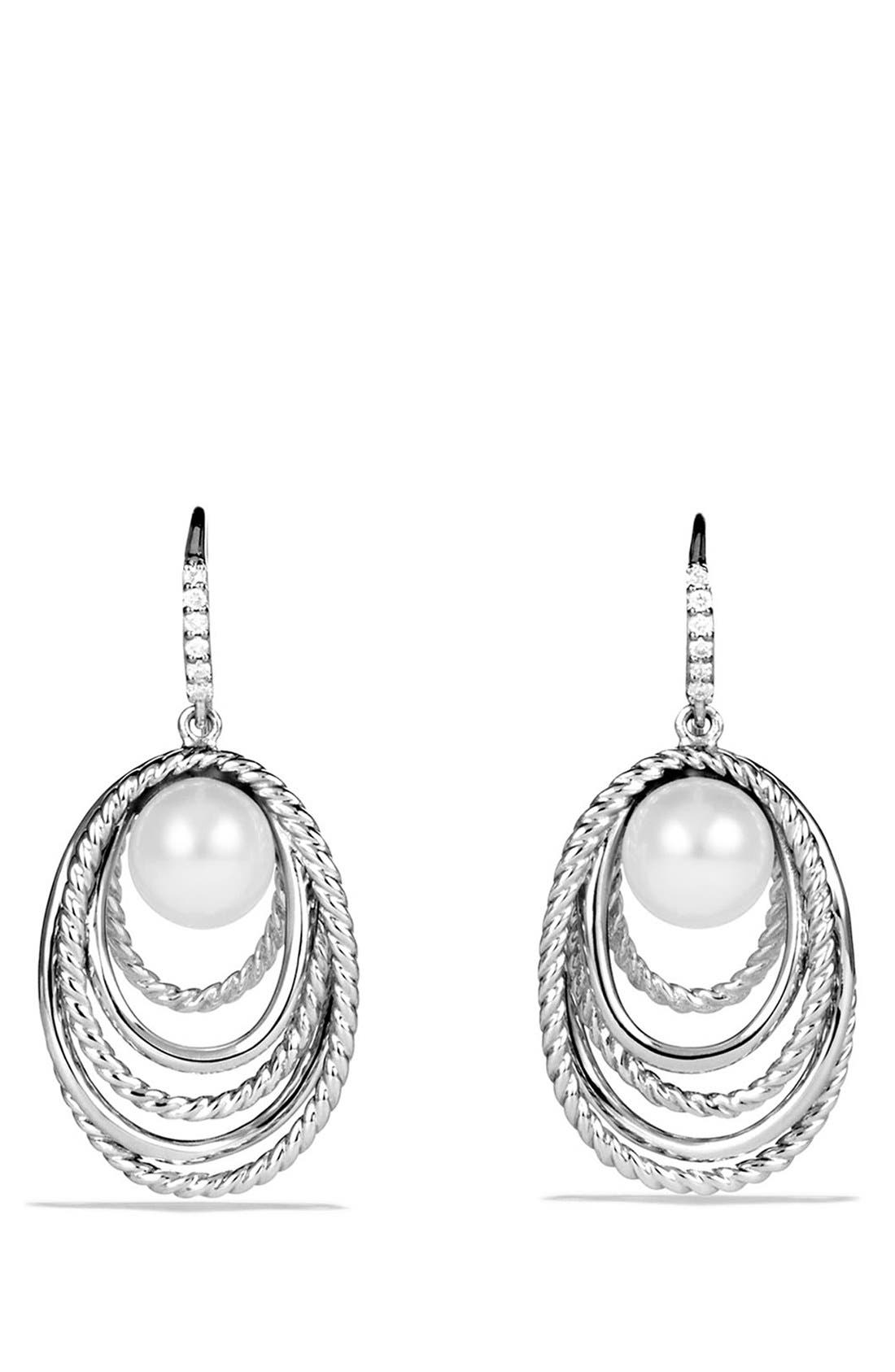 'Crossover' Pearl Drop Earrings with Diamonds,                             Main thumbnail 1, color,                             101