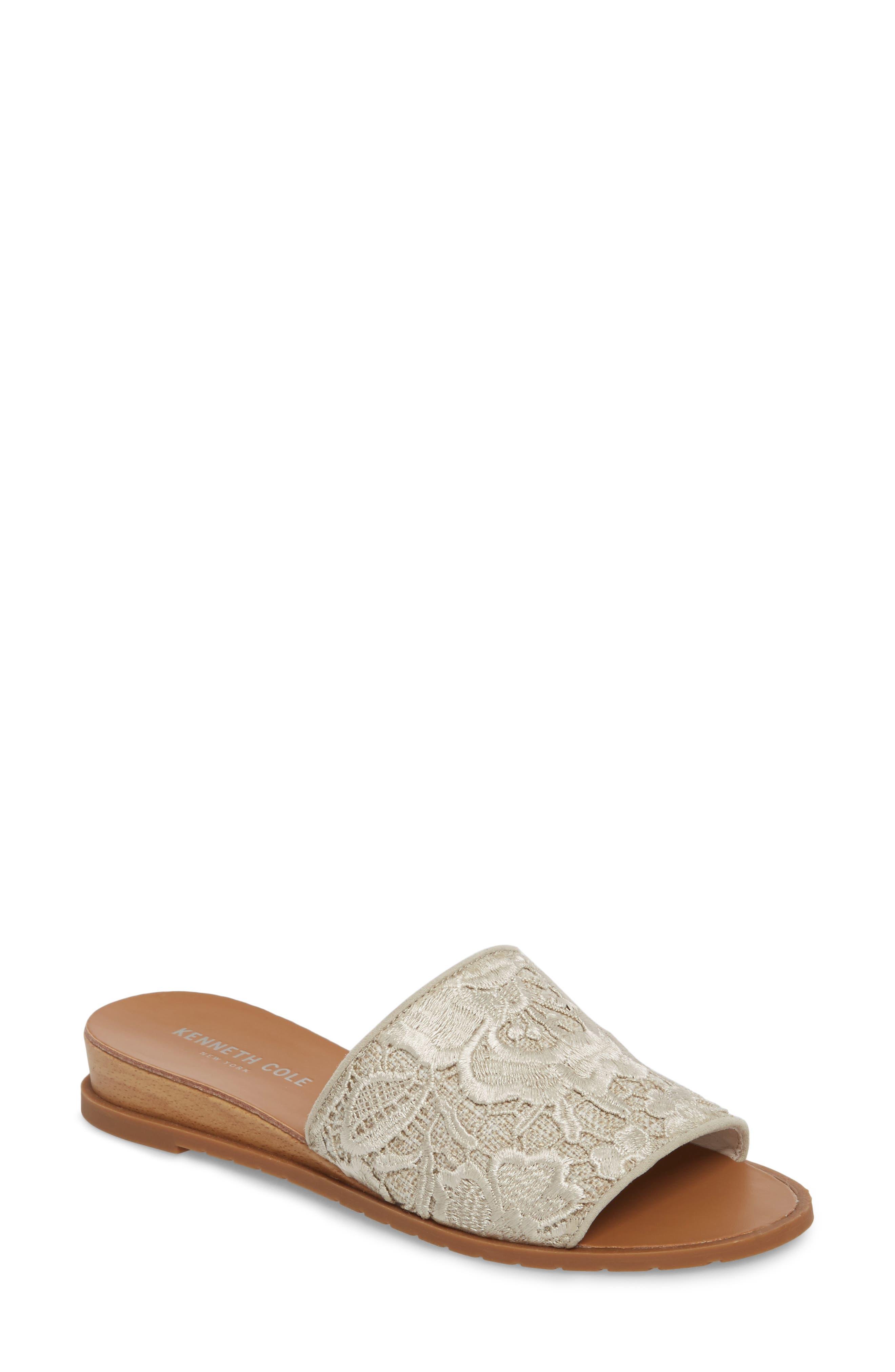 Joanne Flower Embroidered Slide Sandal,                             Main thumbnail 2, color,