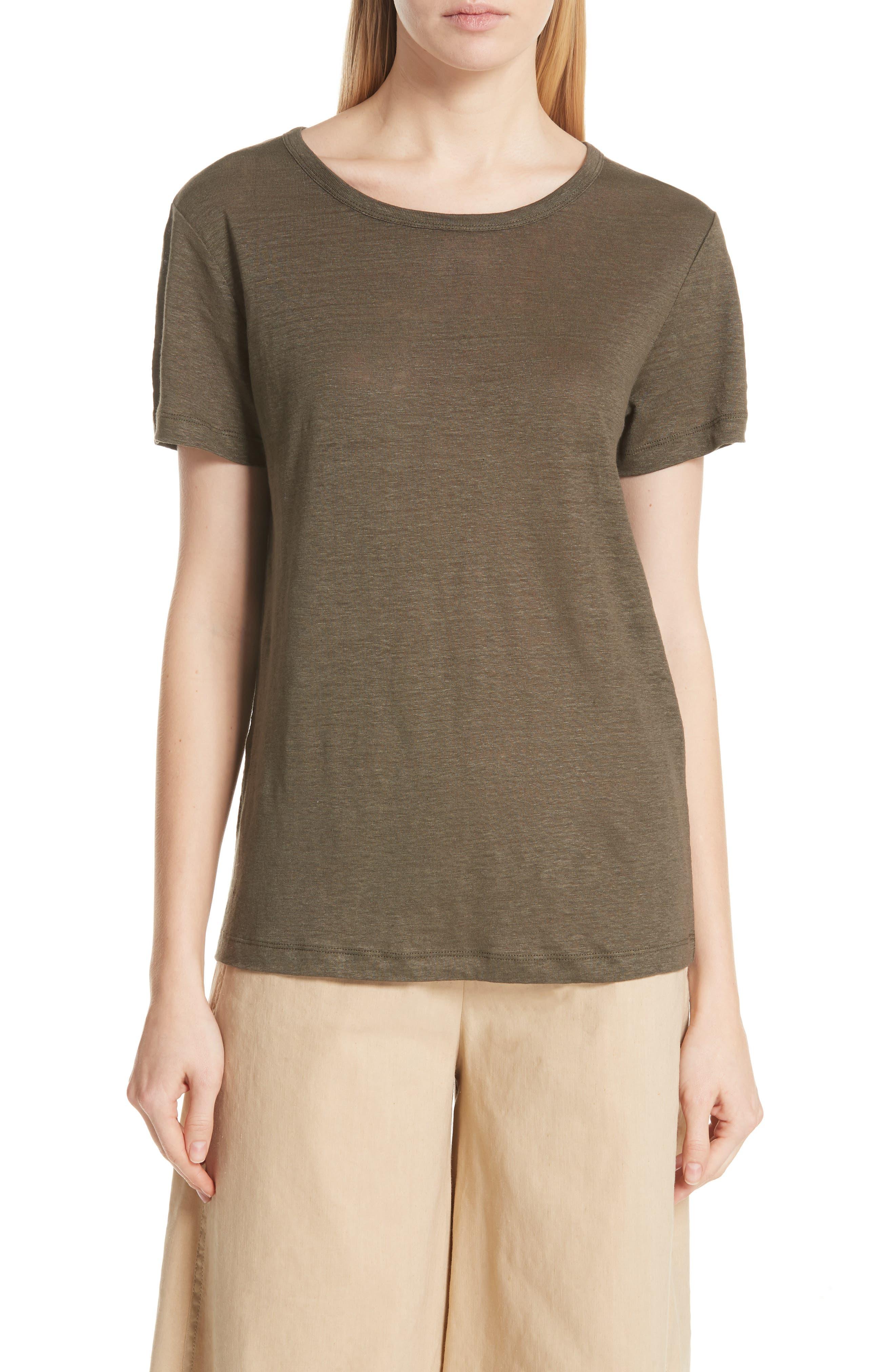 Linen Short Sleeve Top,                             Main thumbnail 2, color,
