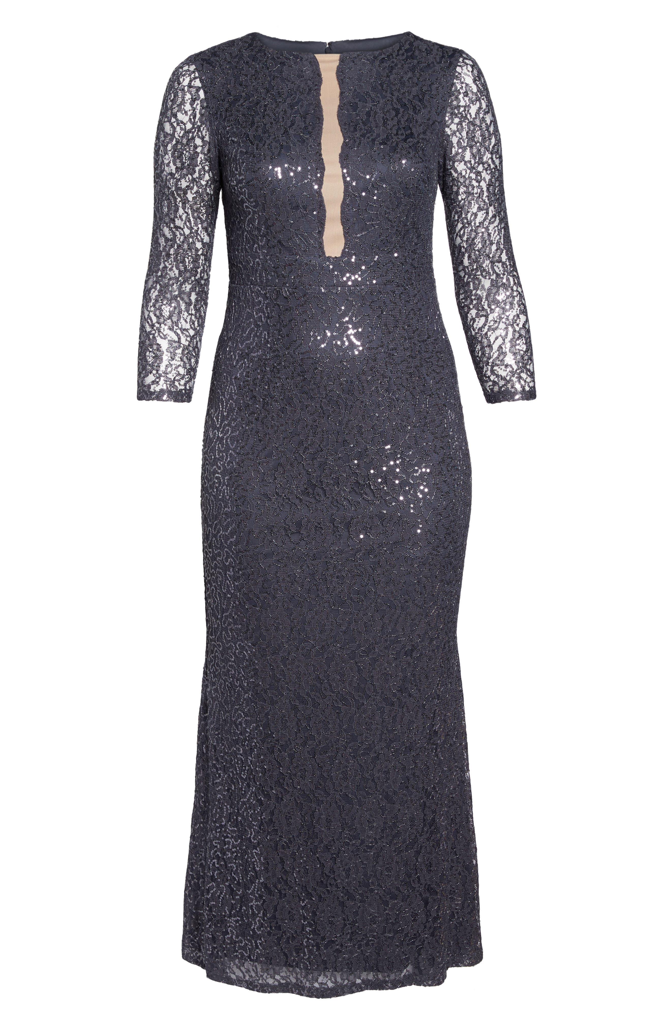 Sequin Lace A-Line Gown,                             Alternate thumbnail 6, color,                             GUNMETAL