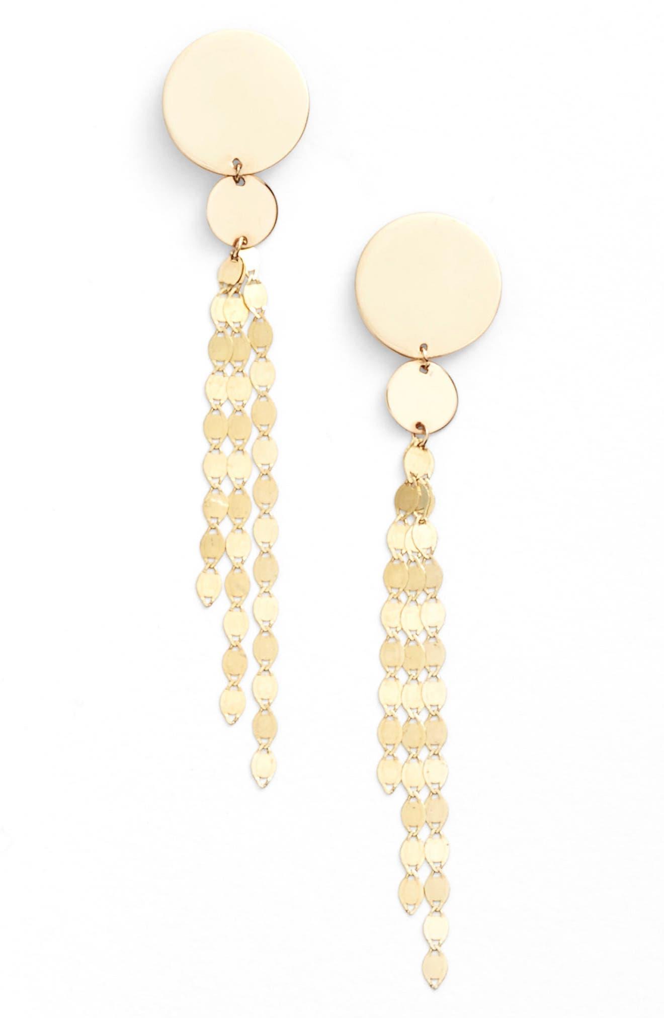 Disc Drop Earrings, Main, color, YELLOW GOLD