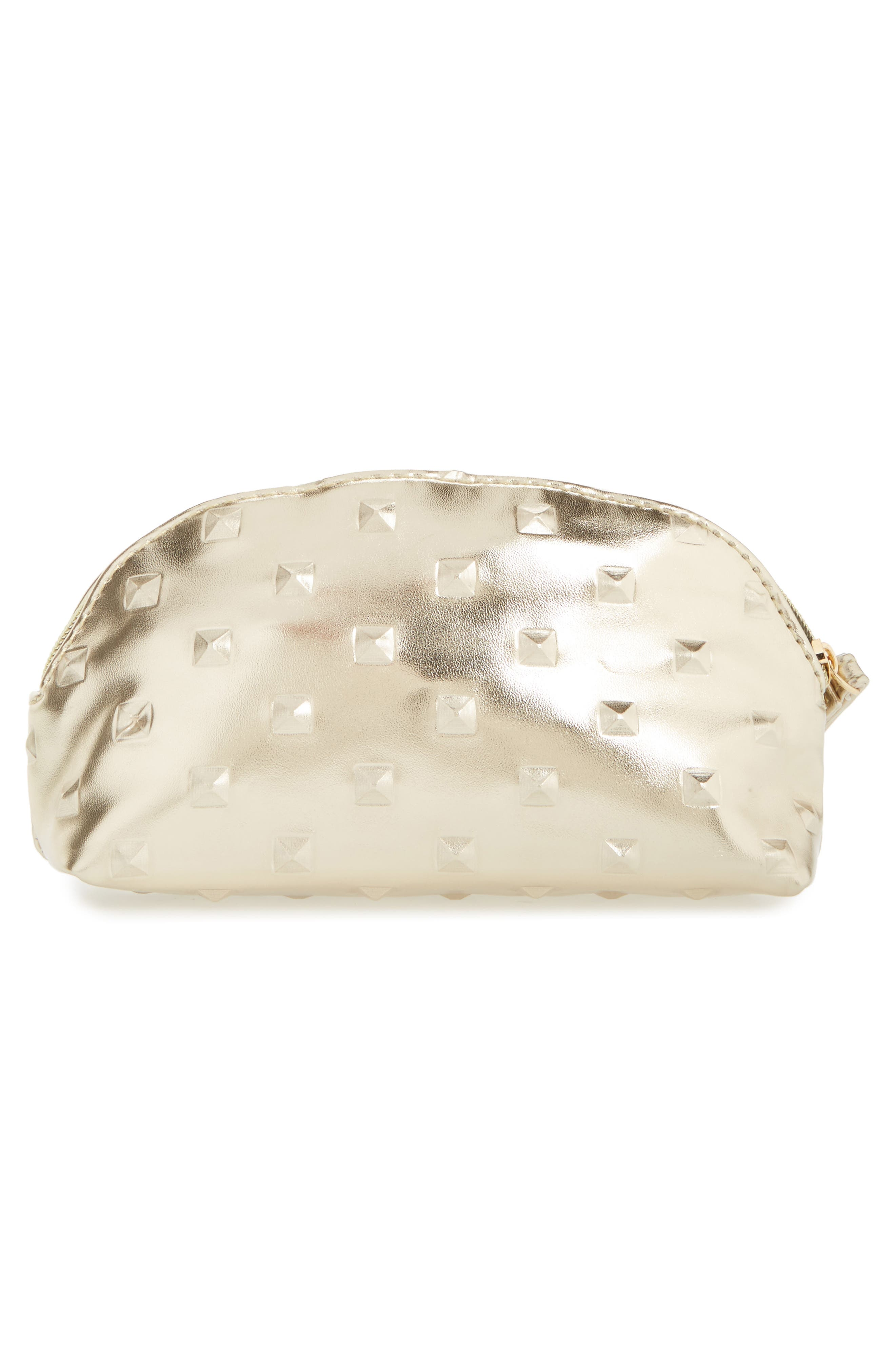 Diamond Embossed Metallic Cosmetics Bag,                             Alternate thumbnail 2, color,
