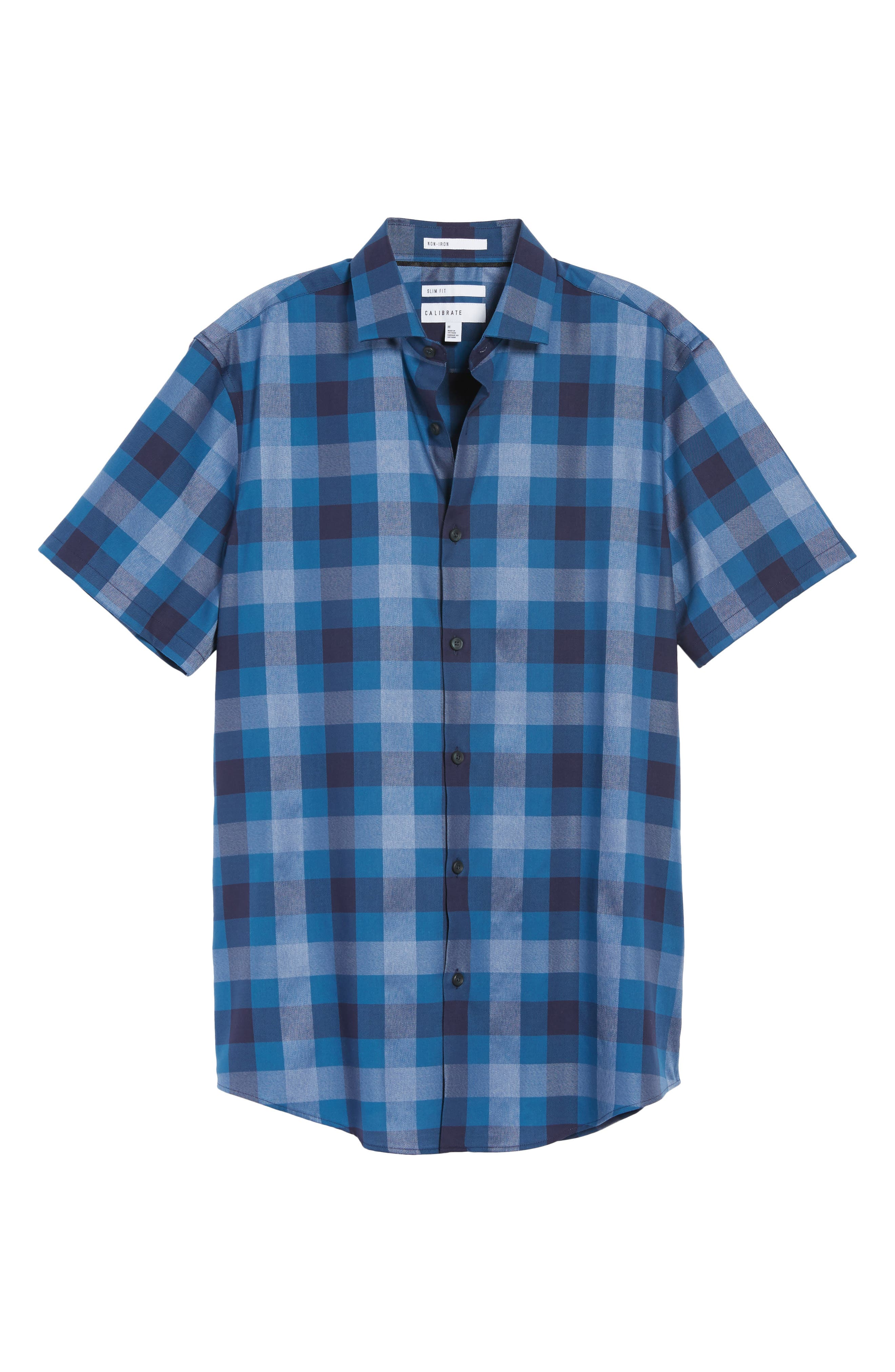 No-Iron Large Check Woven Shirt,                             Alternate thumbnail 6, color,                             410