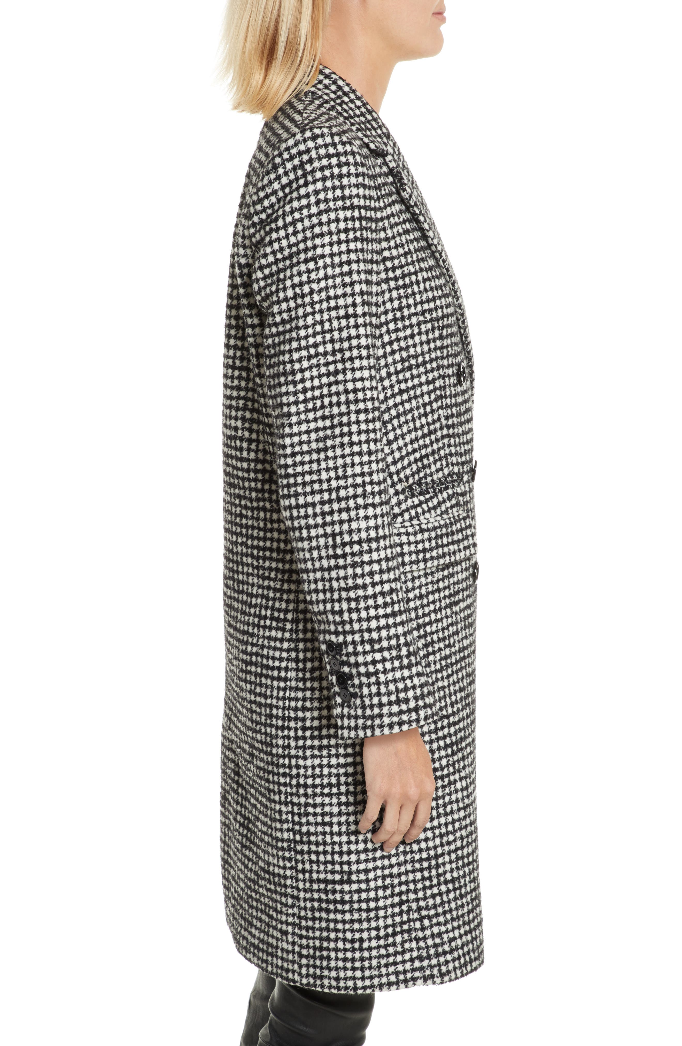Double-Breasted Wool Blend Coat,                             Alternate thumbnail 3, color,                             001