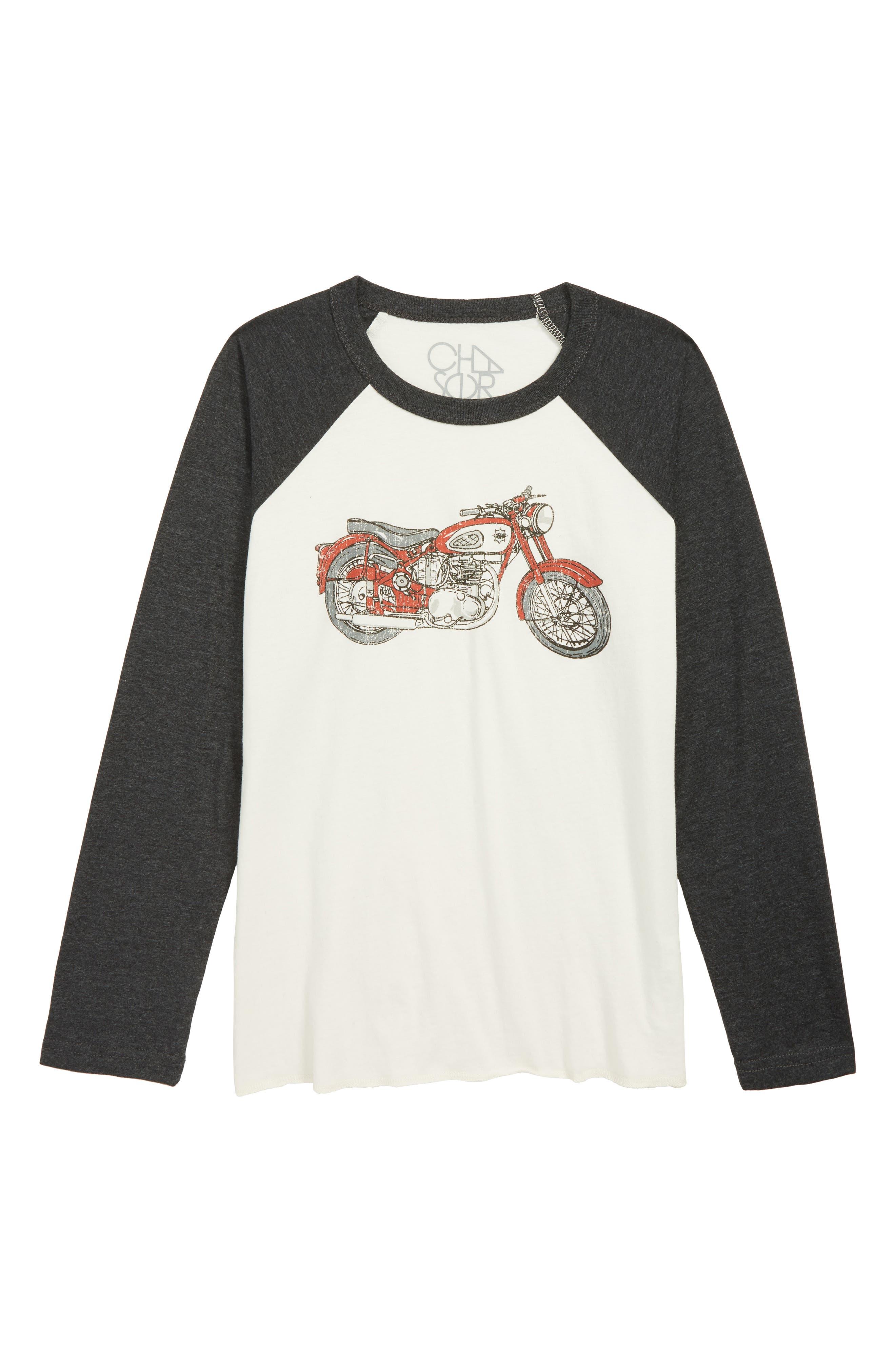 CHASER,                             Motorcycle Raglan Shirt,                             Main thumbnail 1, color,                             BLACK