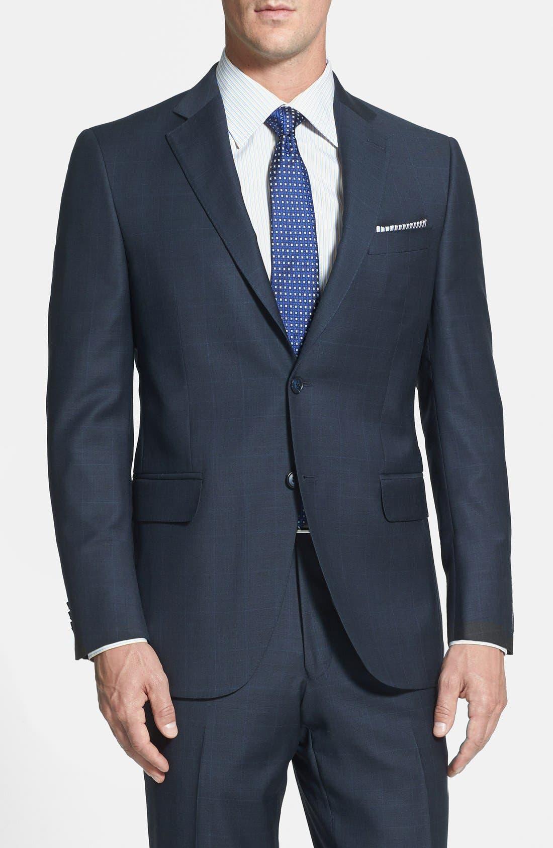 PETER MILLAR,                             Classic Fit Navy Windowpane Suit,                             Alternate thumbnail 2, color,                             410