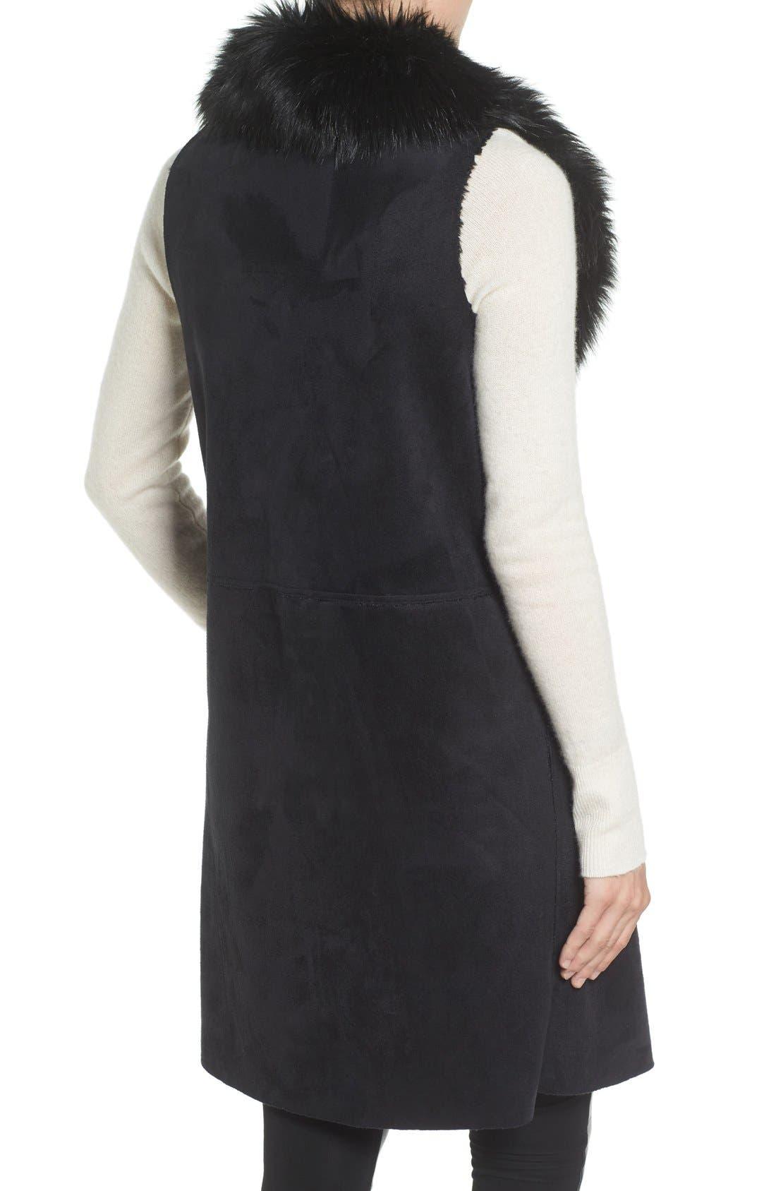 Faux Fur Collar Vest,                             Alternate thumbnail 2, color,                             002