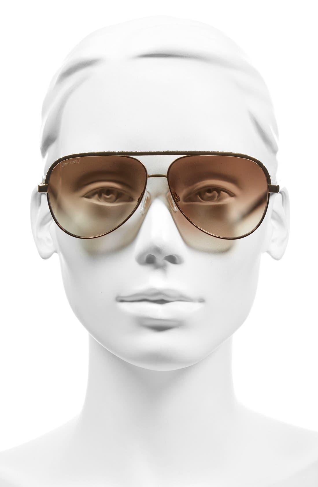 'Linas' 59mm Aviator Sunglasses,                             Alternate thumbnail 5, color,