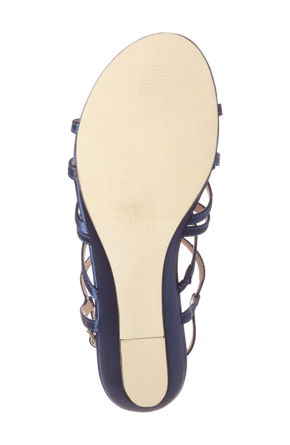 'Opulent' Wedge Sandal,                             Alternate thumbnail 4, color,                             NAVY