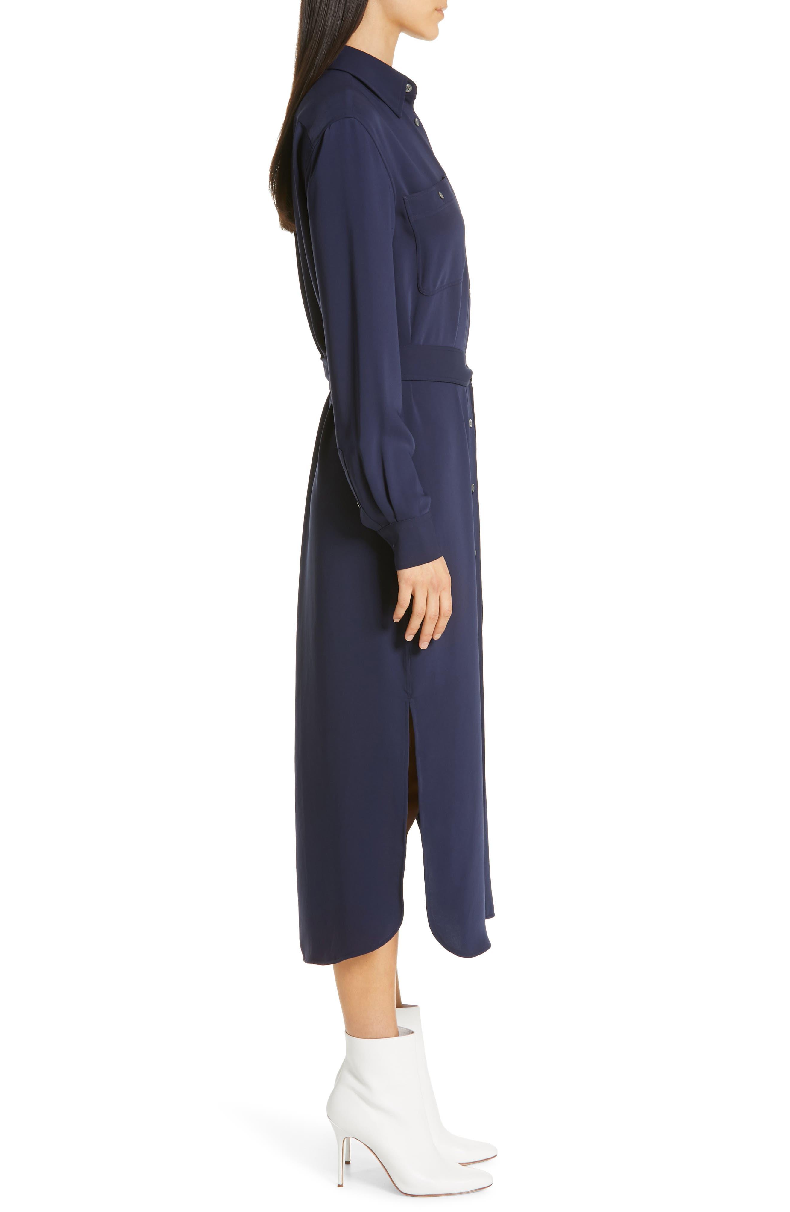 Belted Midi Shirtdress,                             Alternate thumbnail 3, color,                             CRUISE NAVY