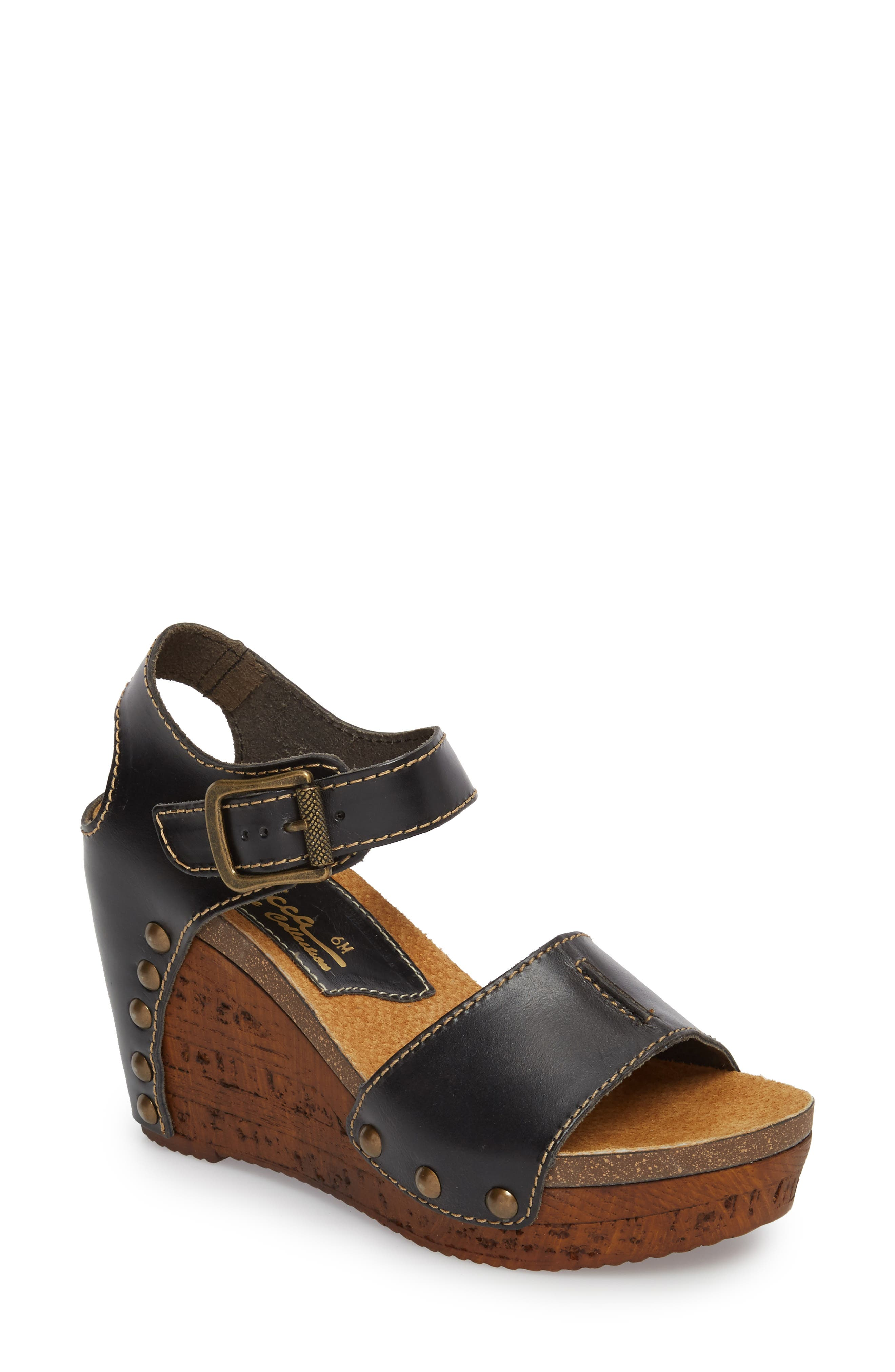 Brella Studded Platform Wedge Sandal,                             Main thumbnail 1, color,                             BLACK