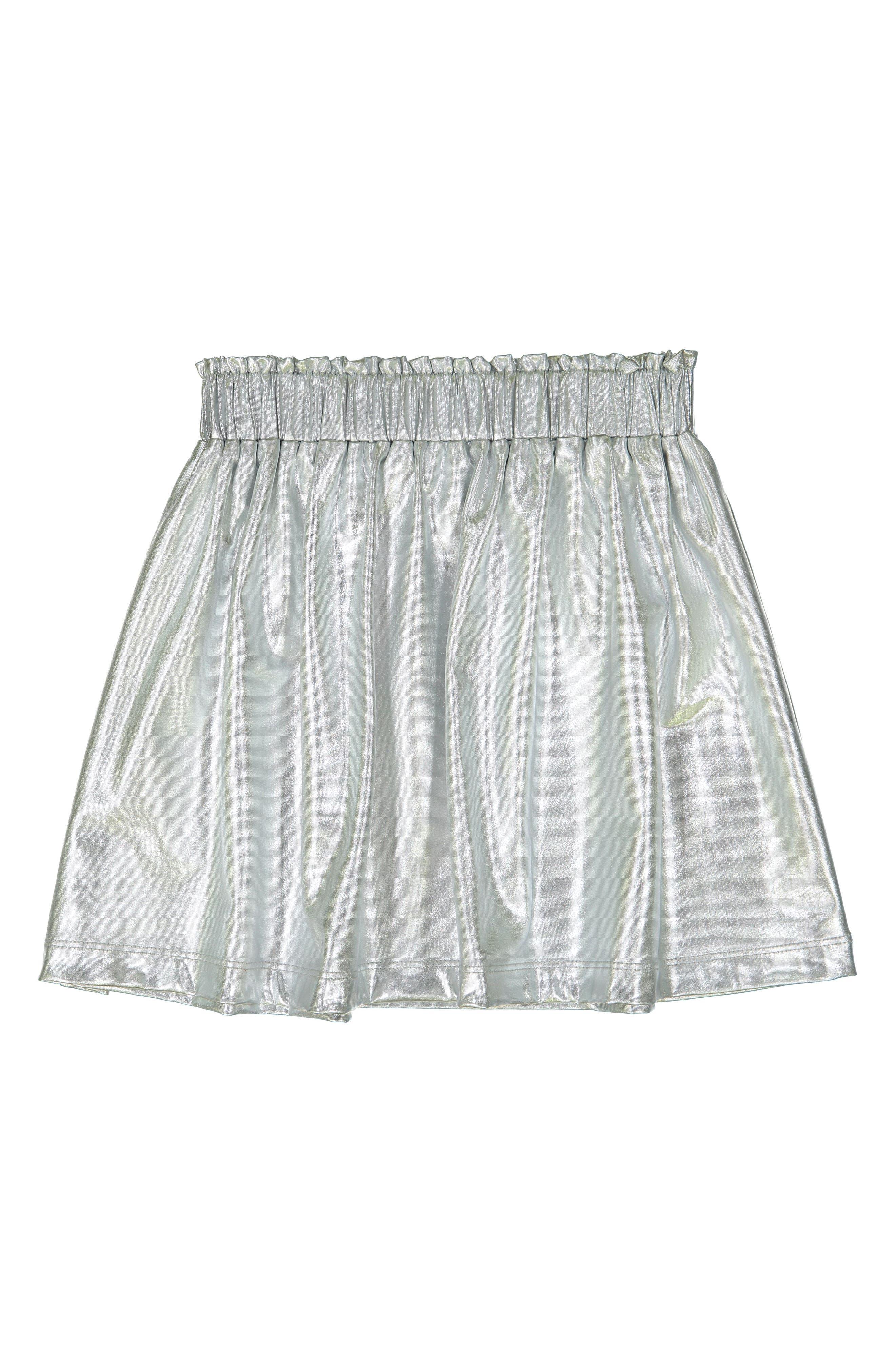 Silver Metallic Skirt,                             Main thumbnail 1, color,                             SILVER