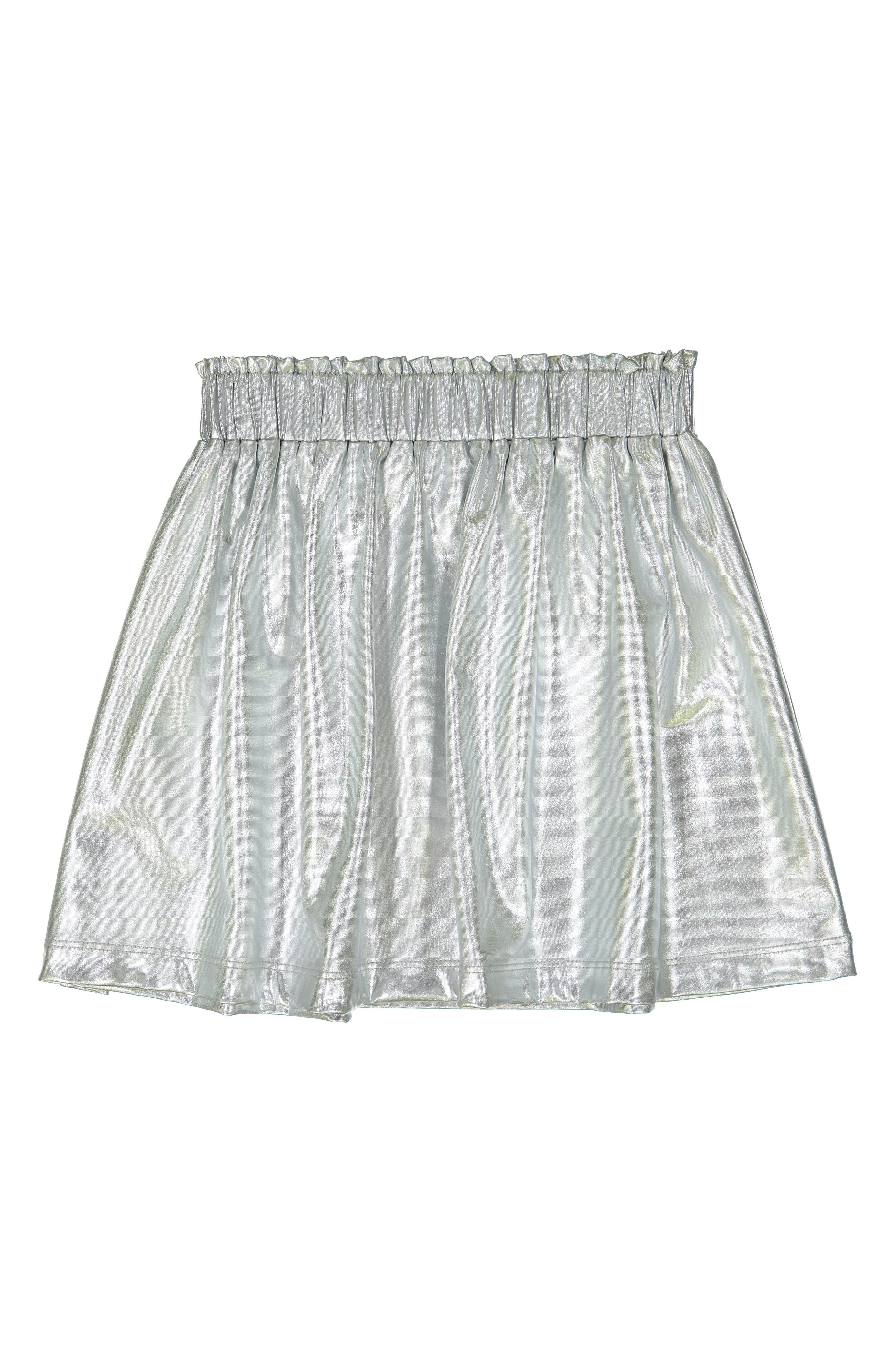 Silver Metallic Skirt,                         Main,                         color, SILVER