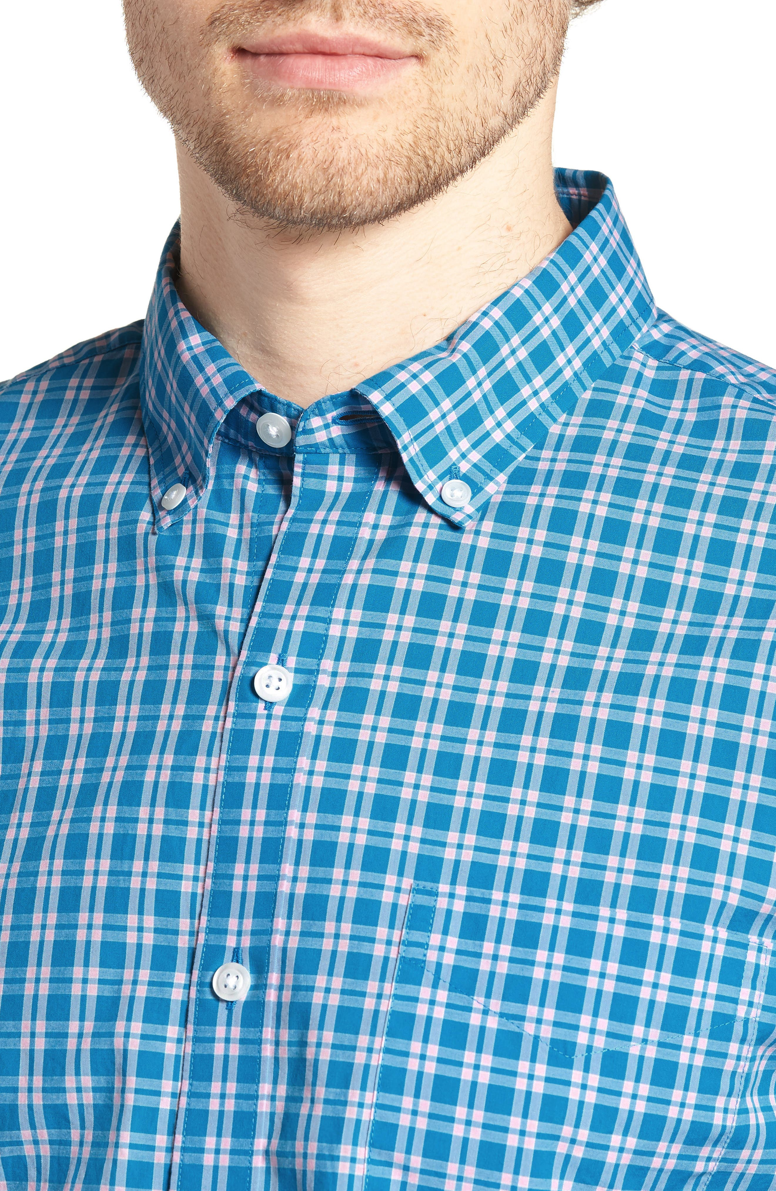 Summerweight Slim Fit Check Sport Shirt,                             Alternate thumbnail 4, color,                             400