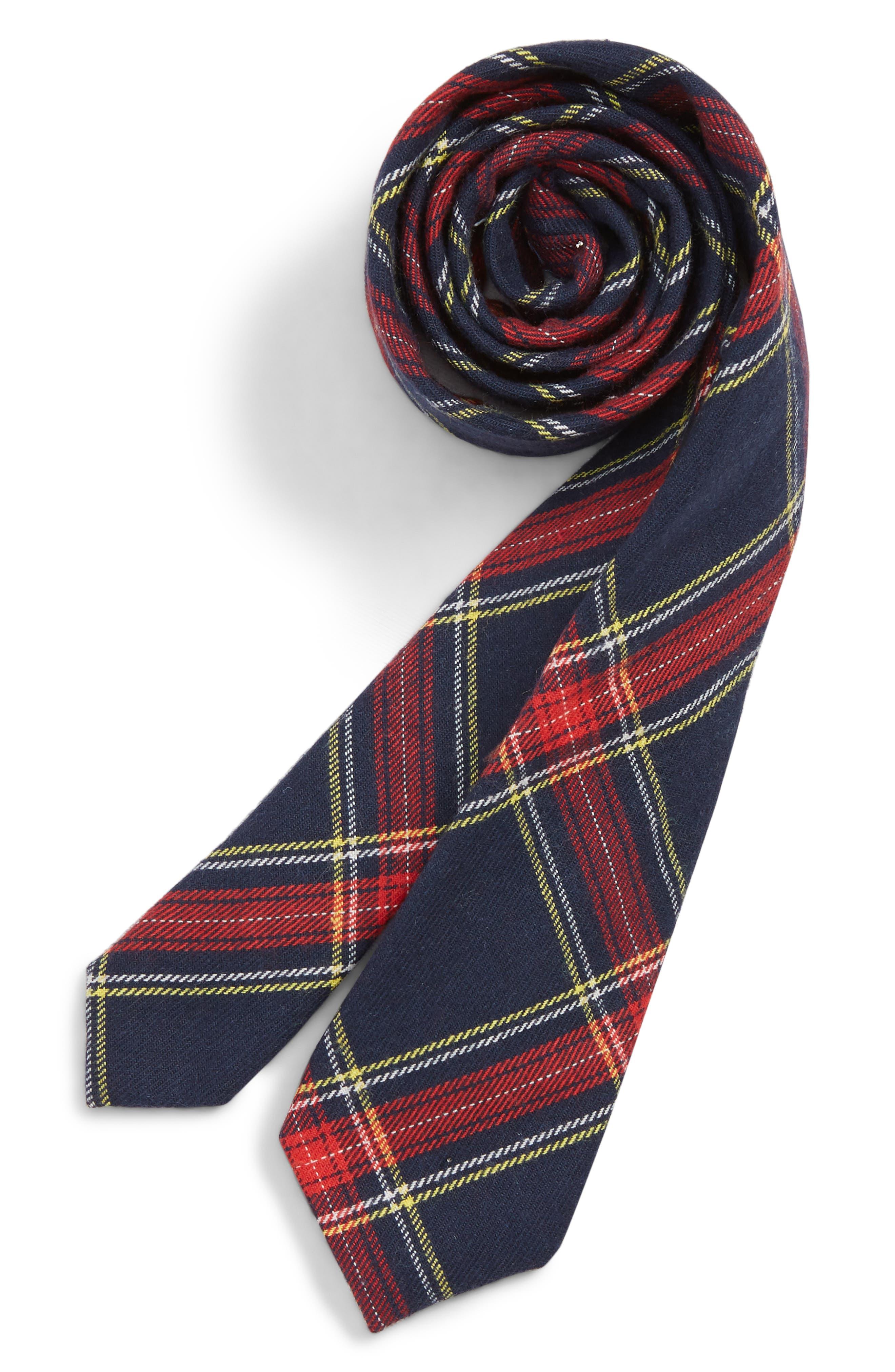 Tartan Cotton Blend Tie,                             Main thumbnail 1, color,                             NAVY
