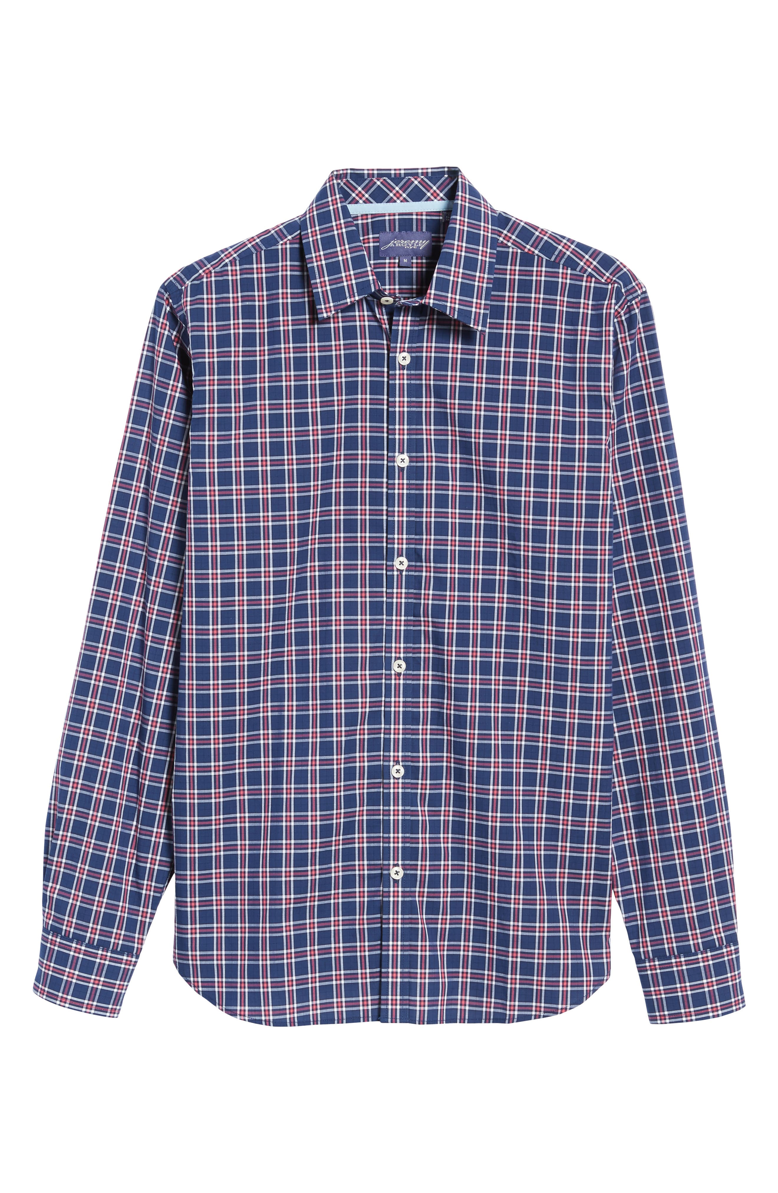 Slim Fit Plaid Sport Shirt,                             Alternate thumbnail 6, color,                             412