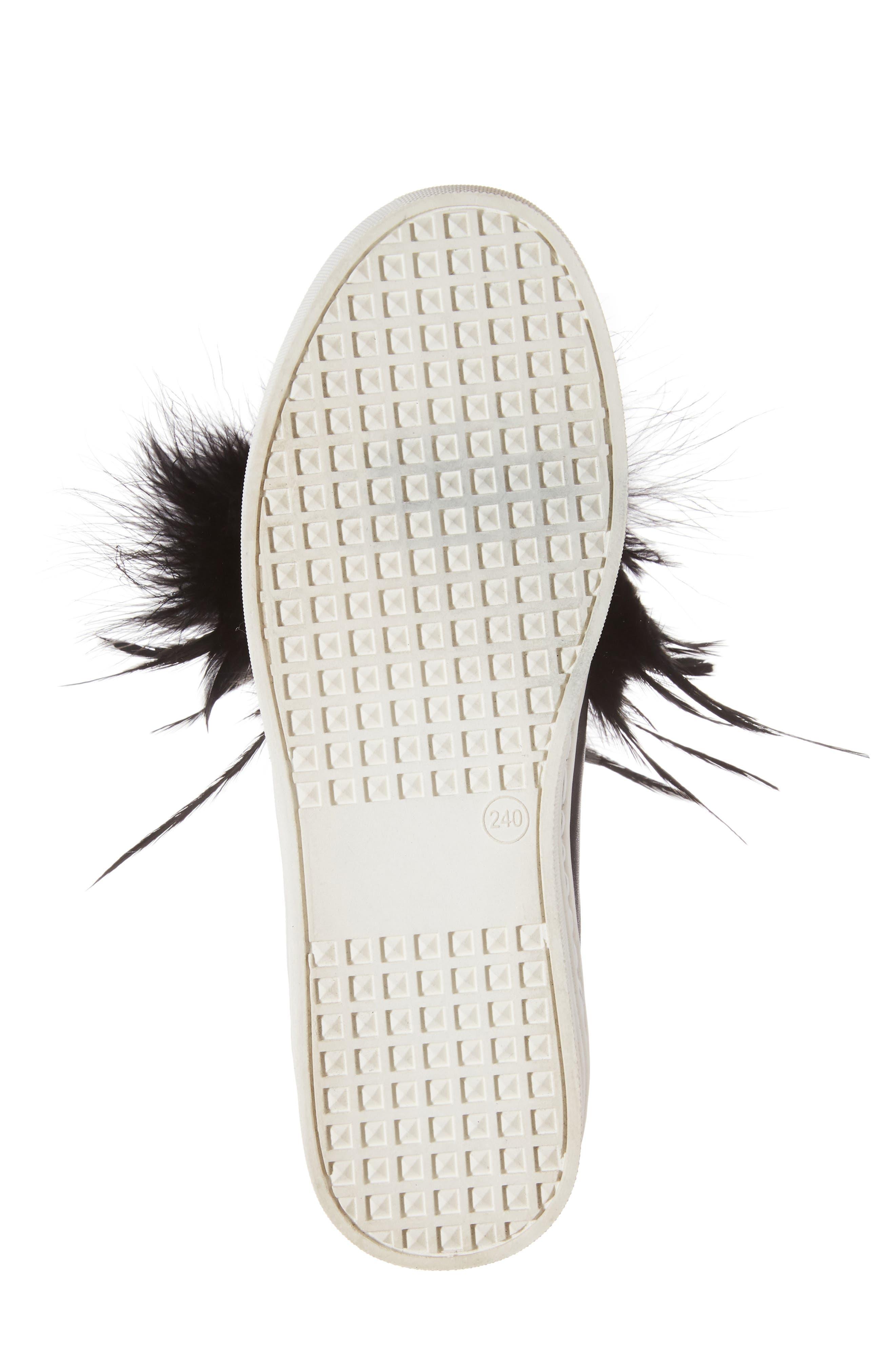Lily Feather Pom Slip-On Platform Sneaker,                             Alternate thumbnail 6, color,                             001