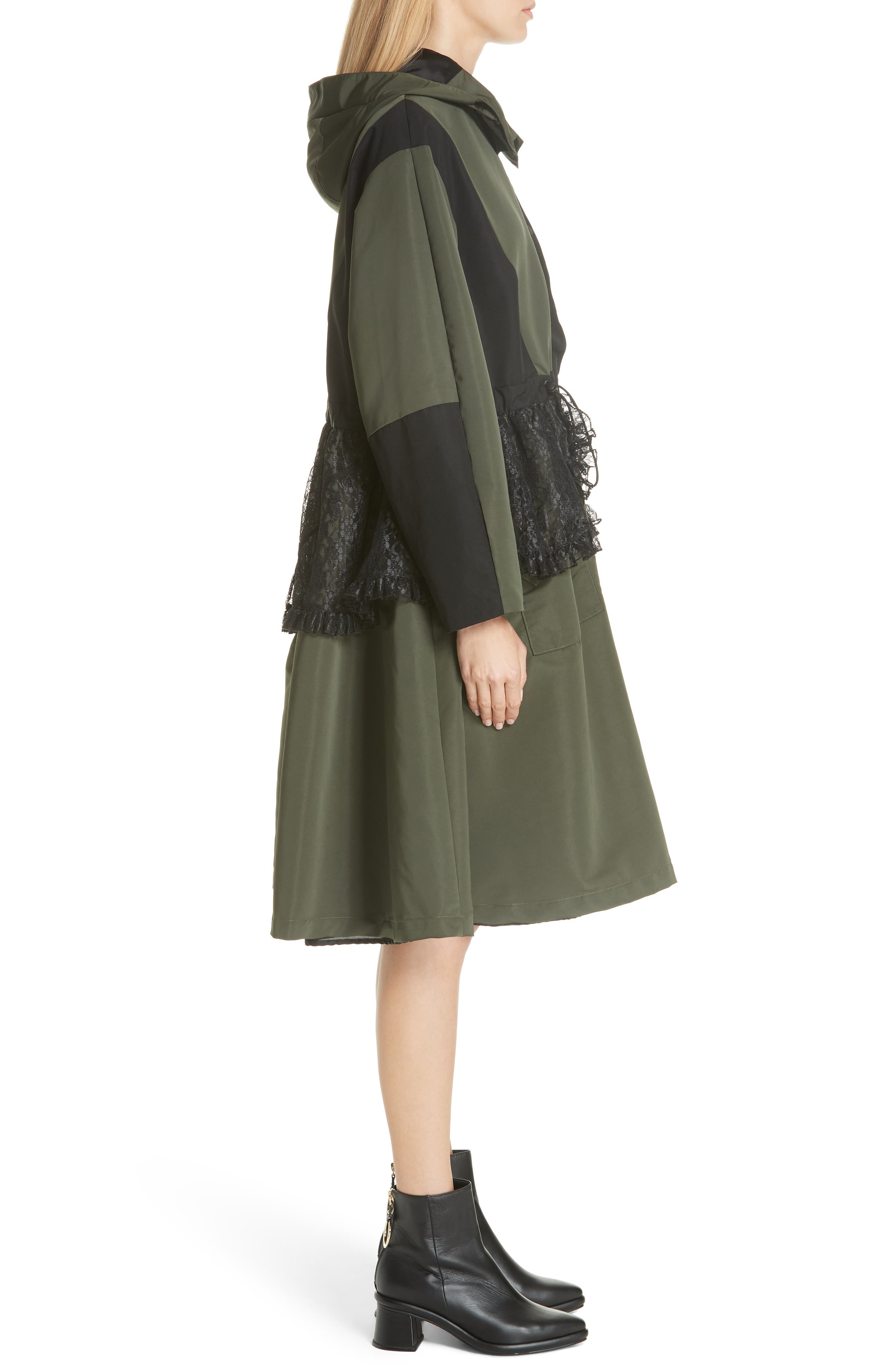 Lace Overlay Hooded Coat,                             Alternate thumbnail 4, color,                             300