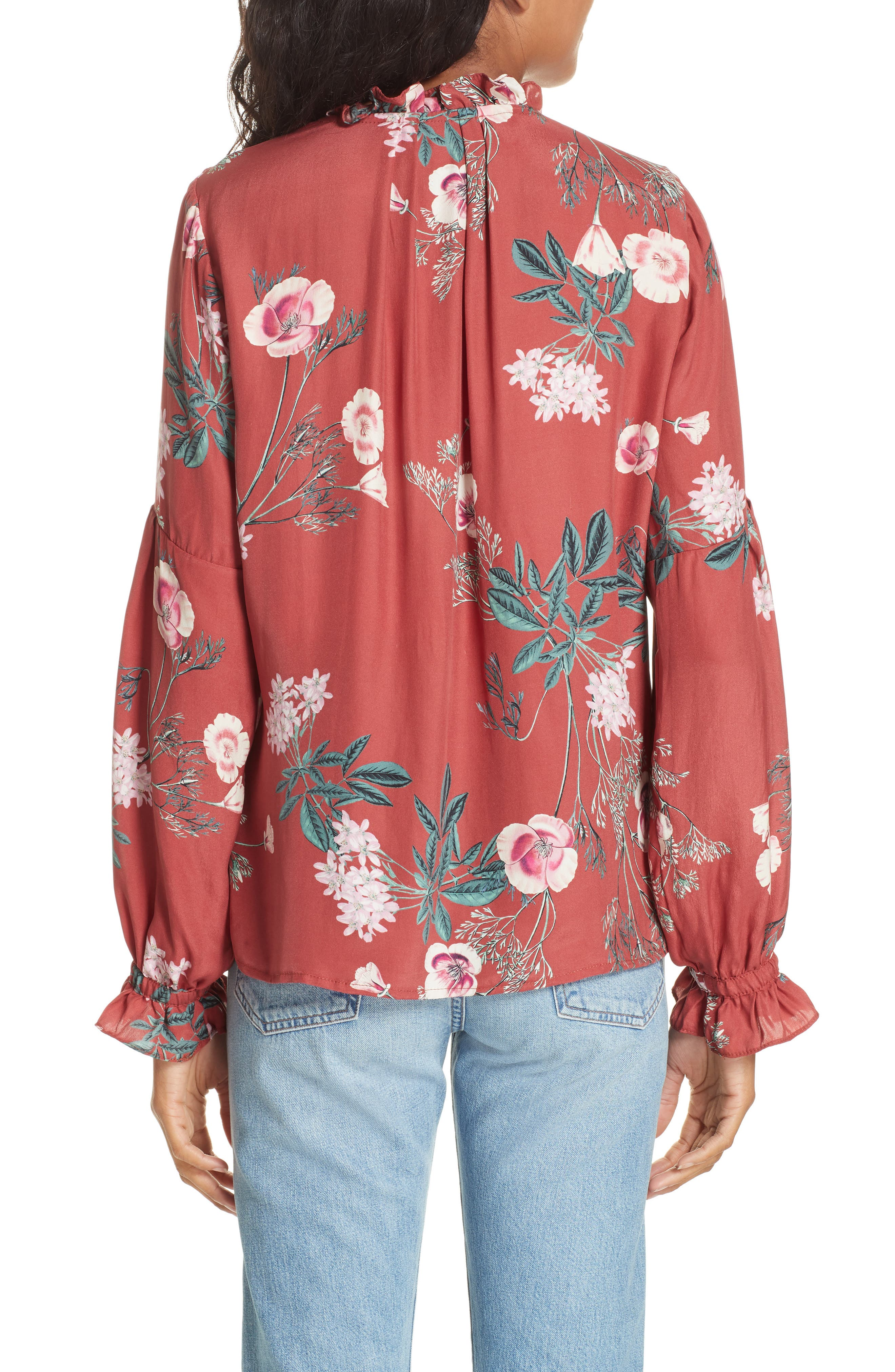 Split Neck Silk Peasant Top,                             Alternate thumbnail 2, color,                             RED BLOSSOM FLORAL