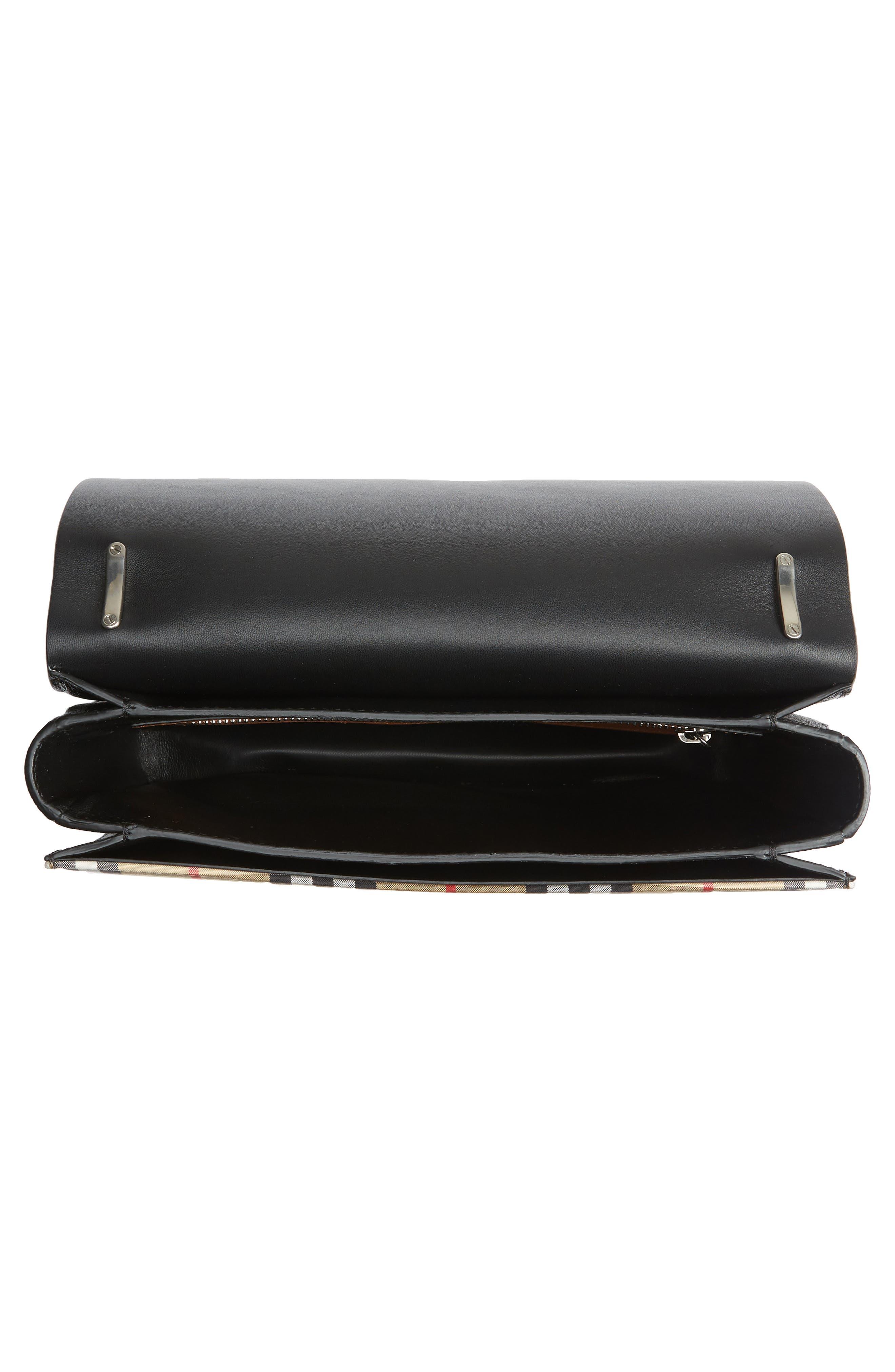 Medium D-Ring Vintage Check & Leather Crossbody Bag,                             Alternate thumbnail 4, color,                             TAN/ BLACK