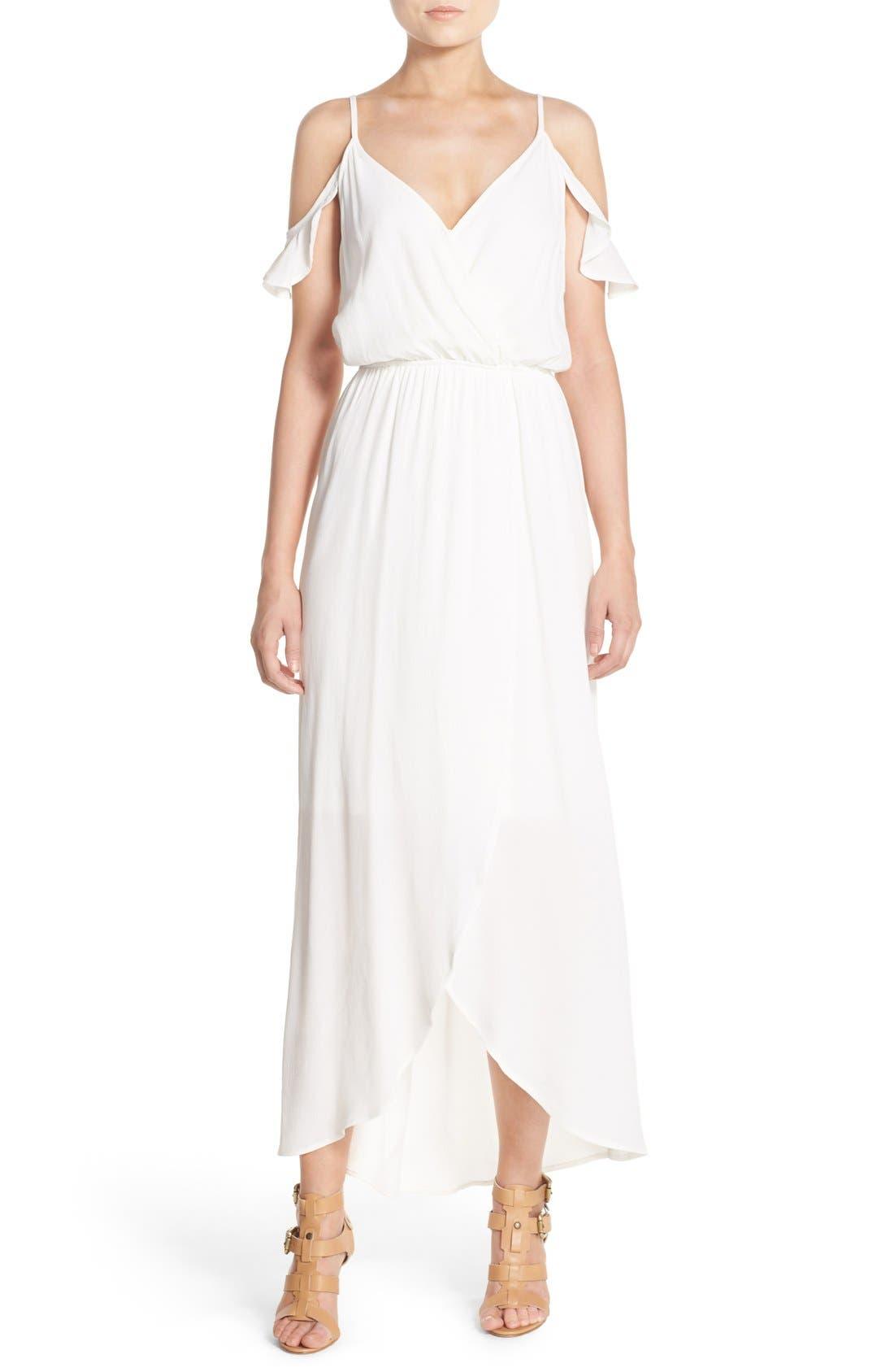 Cold Shoulder Wrap Front Maxi Dress,                         Main,                         color, WHITE