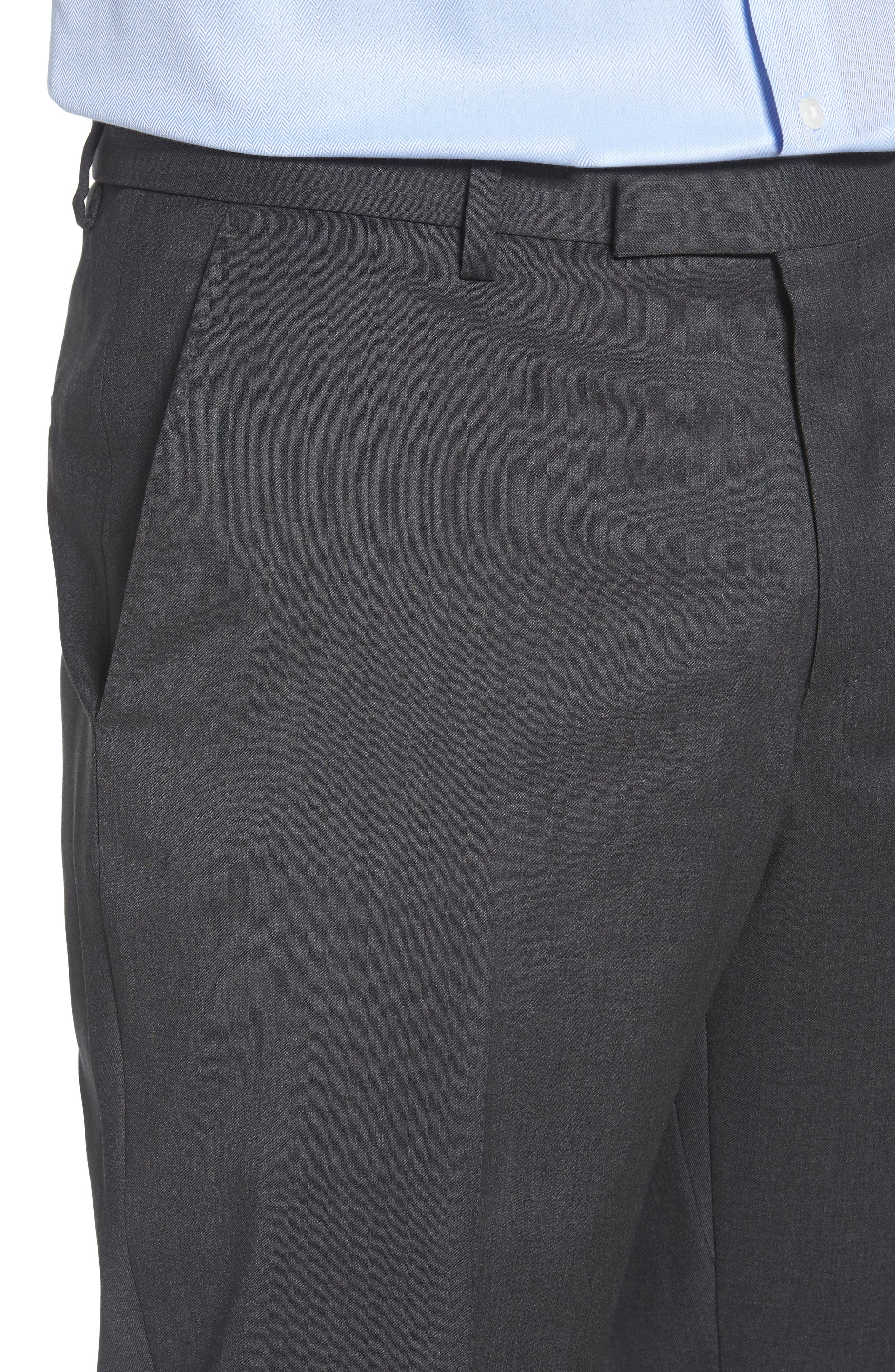 Leenon Flat Front Regular Fit Solid Wool Trousers,                             Alternate thumbnail 4, color,                             CHARCOAL