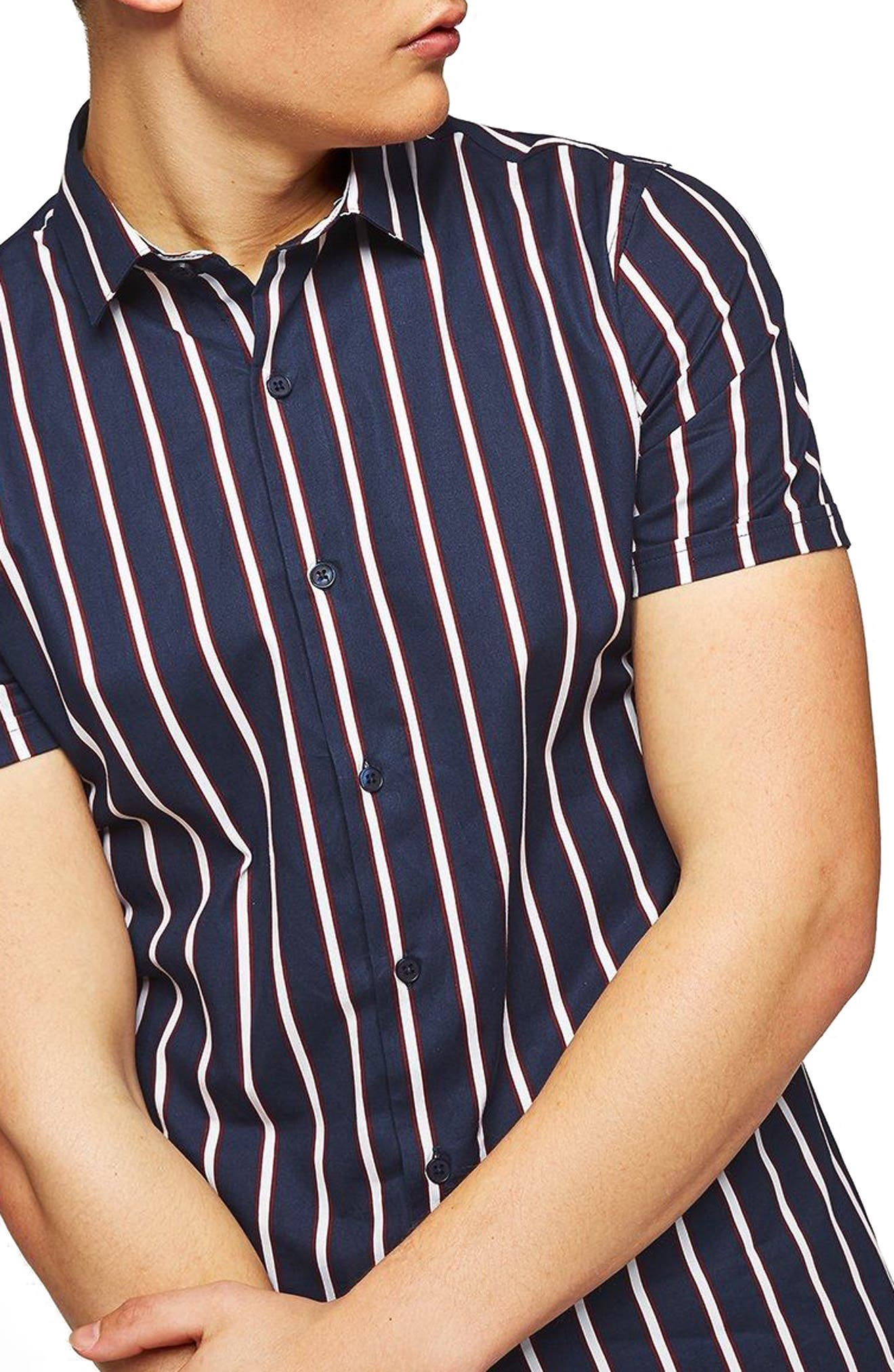 Muscle Fit Resort Stripe Shirt,                             Main thumbnail 1, color,                             411