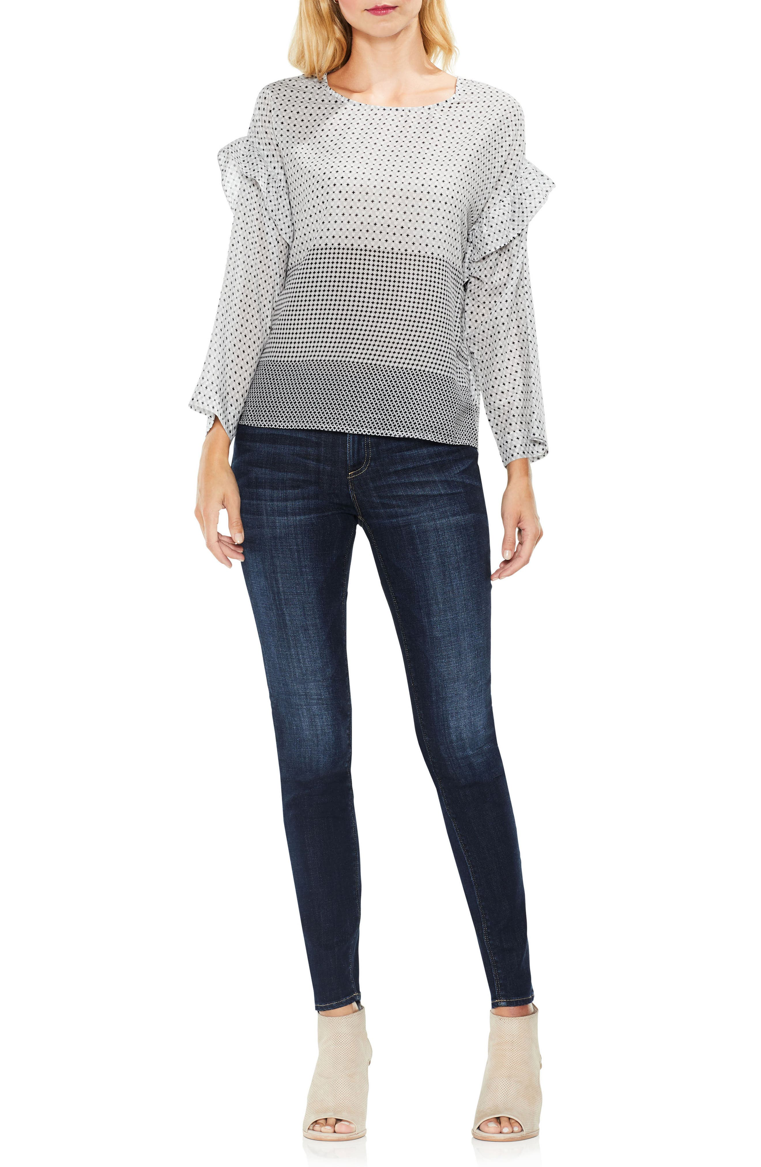 Two by VInce Camuto Quiet Tile Border Ruffle Top,                             Alternate thumbnail 4, color,                             063