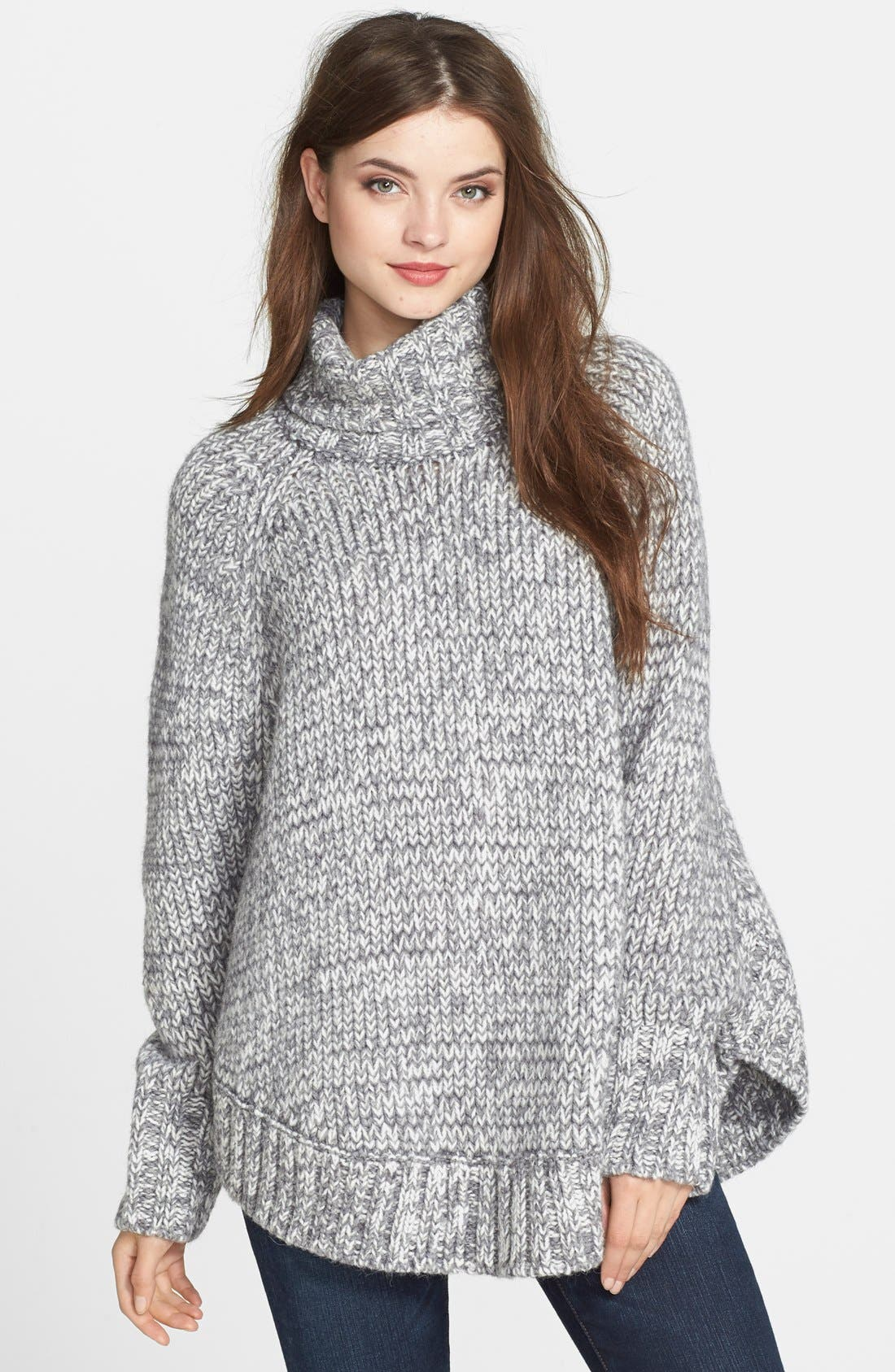 Turtleneck Poncho Sweater,                             Main thumbnail 1, color,