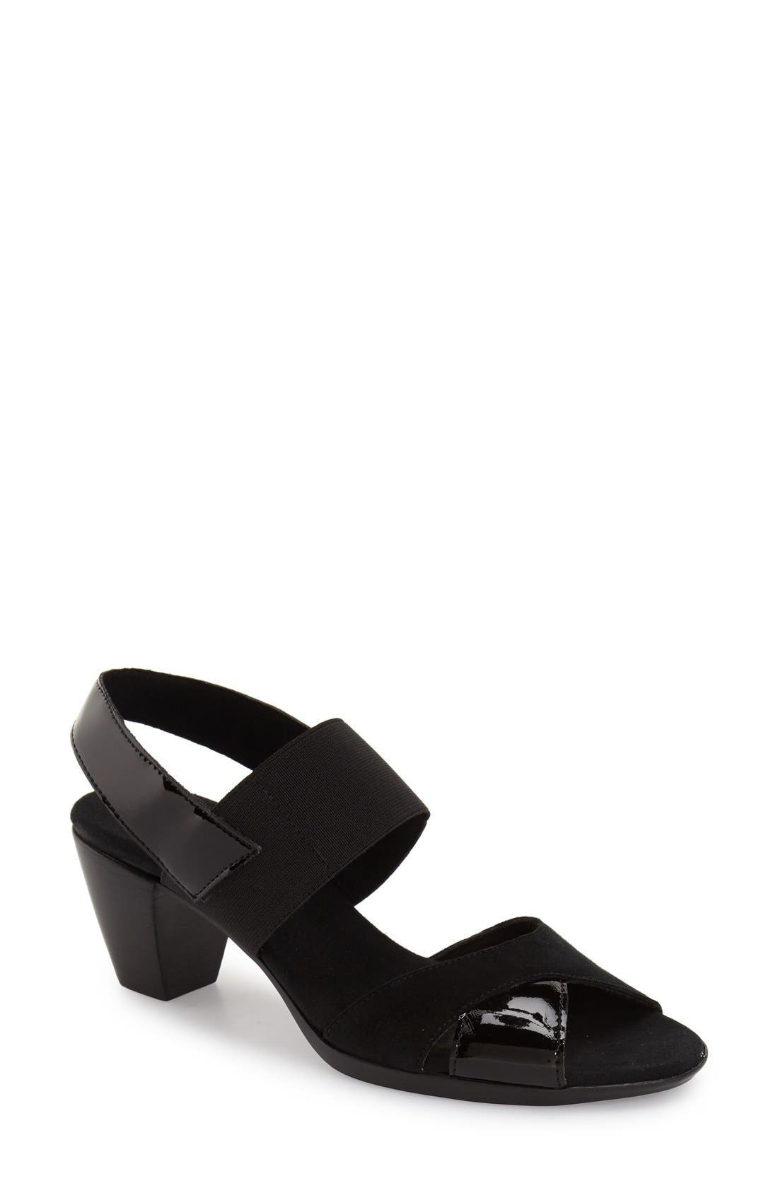 MUNRO,                             Darling Mixed Finish Slingback Sandal,                             Main thumbnail 1, color,                             BLACK COMBO