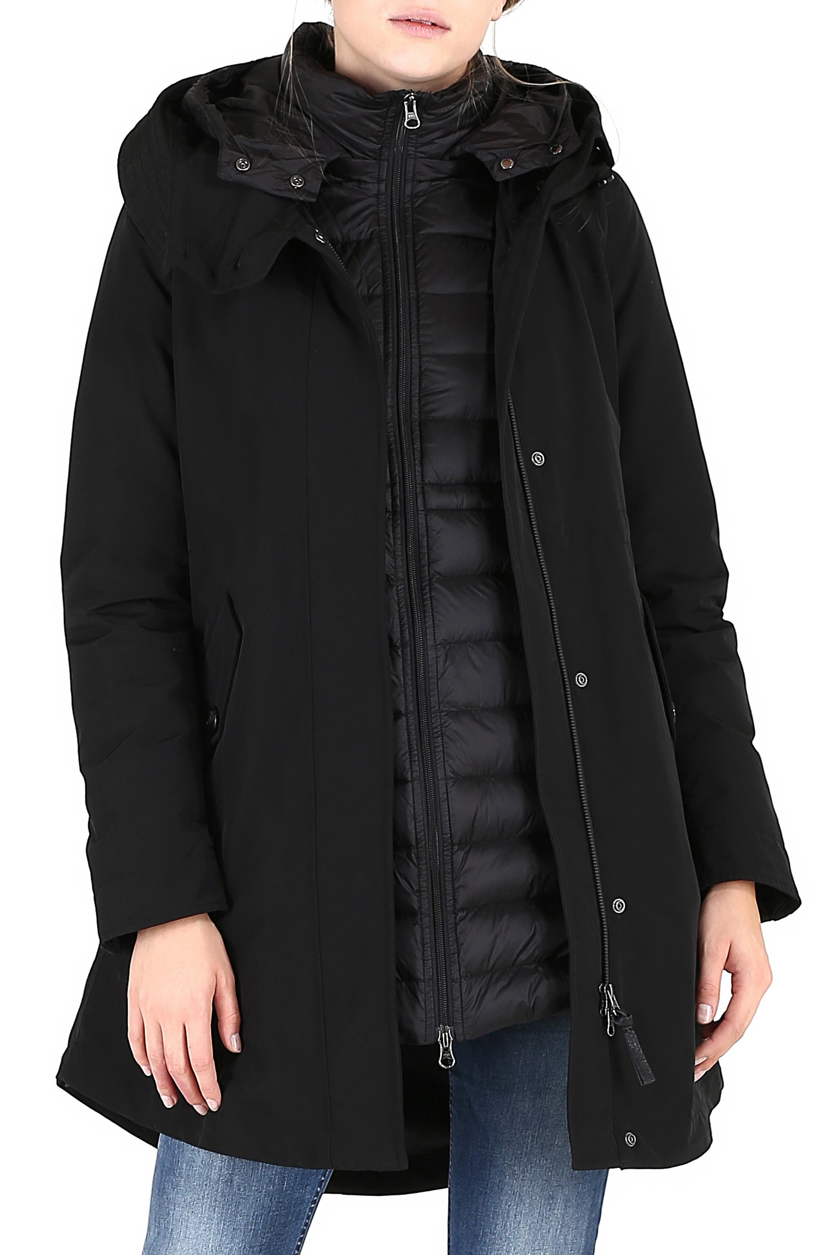 Long Military 3-in-1 Parka,                         Main,                         color, BLACK