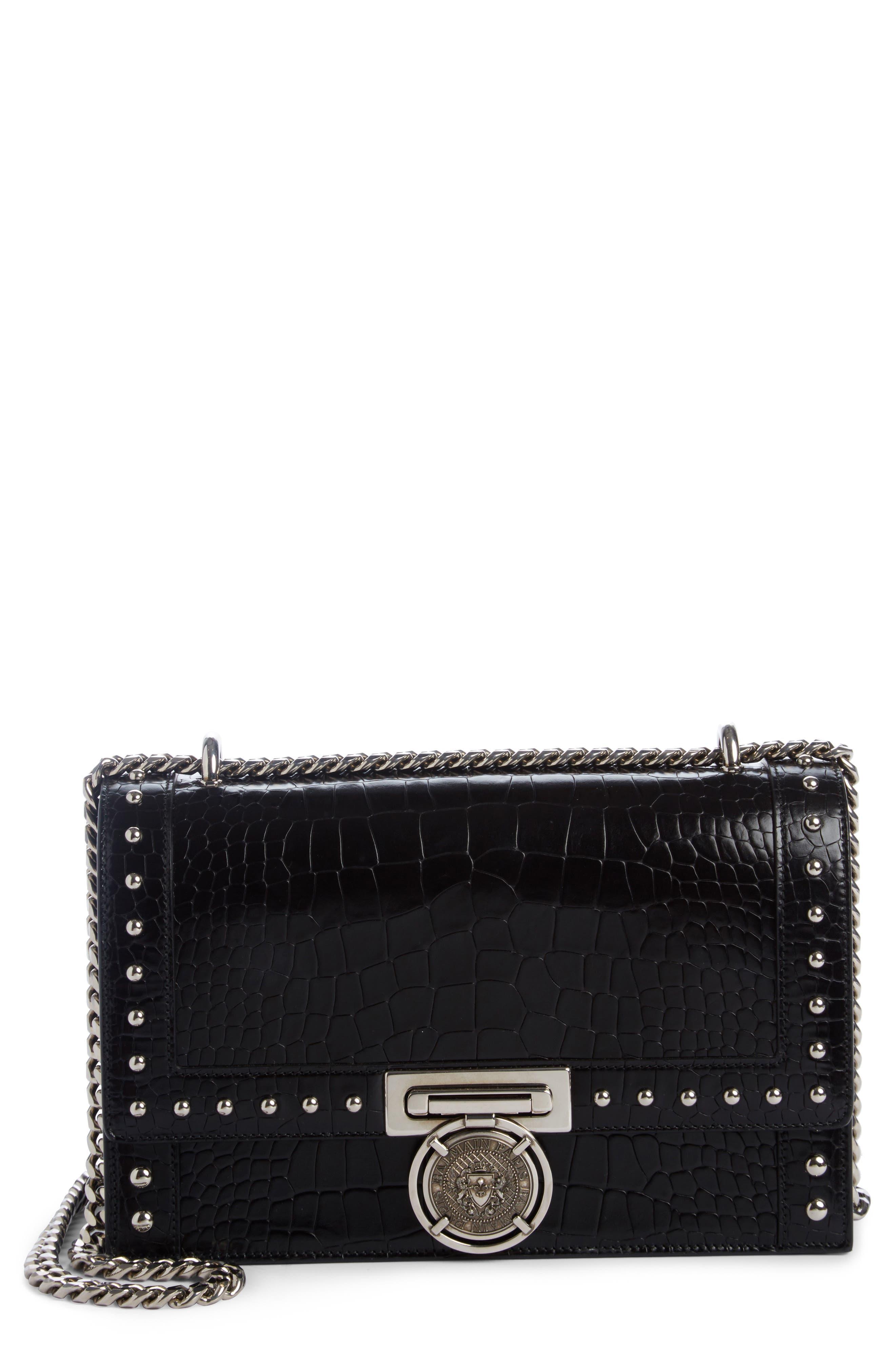 Stud Leather Box Shoulder Bag,                             Main thumbnail 1, color,                             001