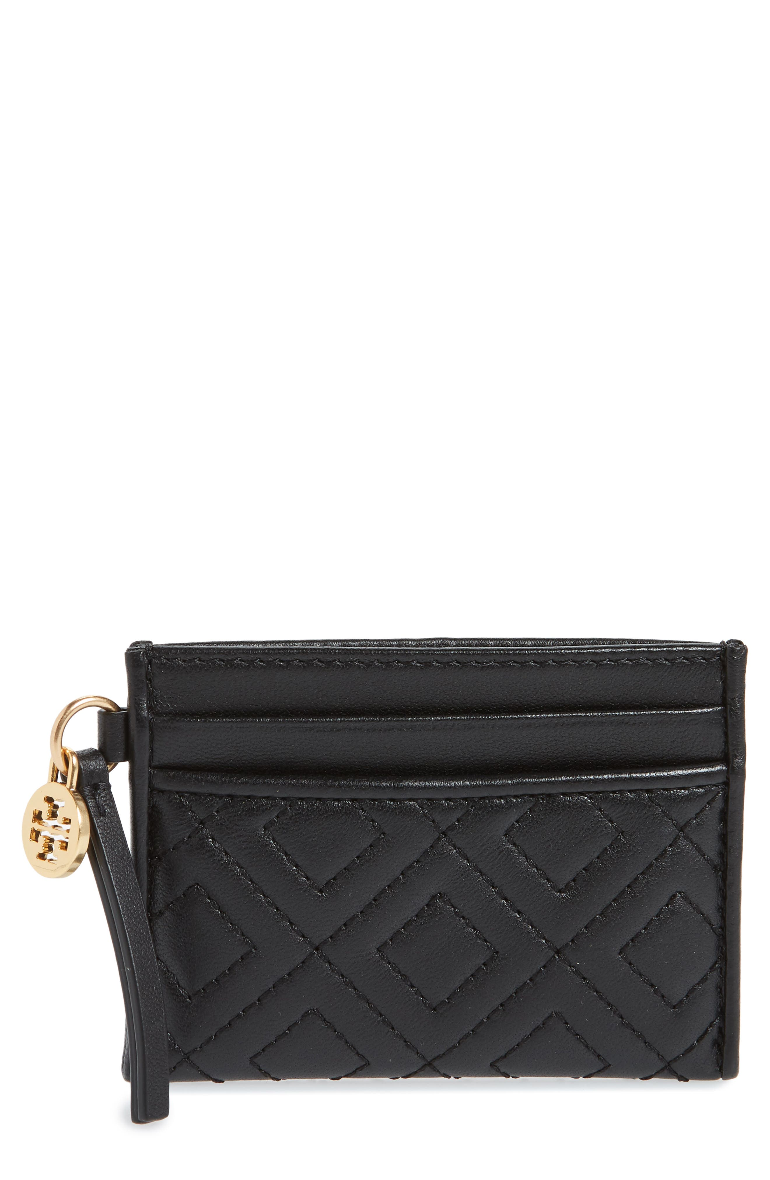 TORY BURCH Fleming Leather Slim Card Case, Main, color, 001