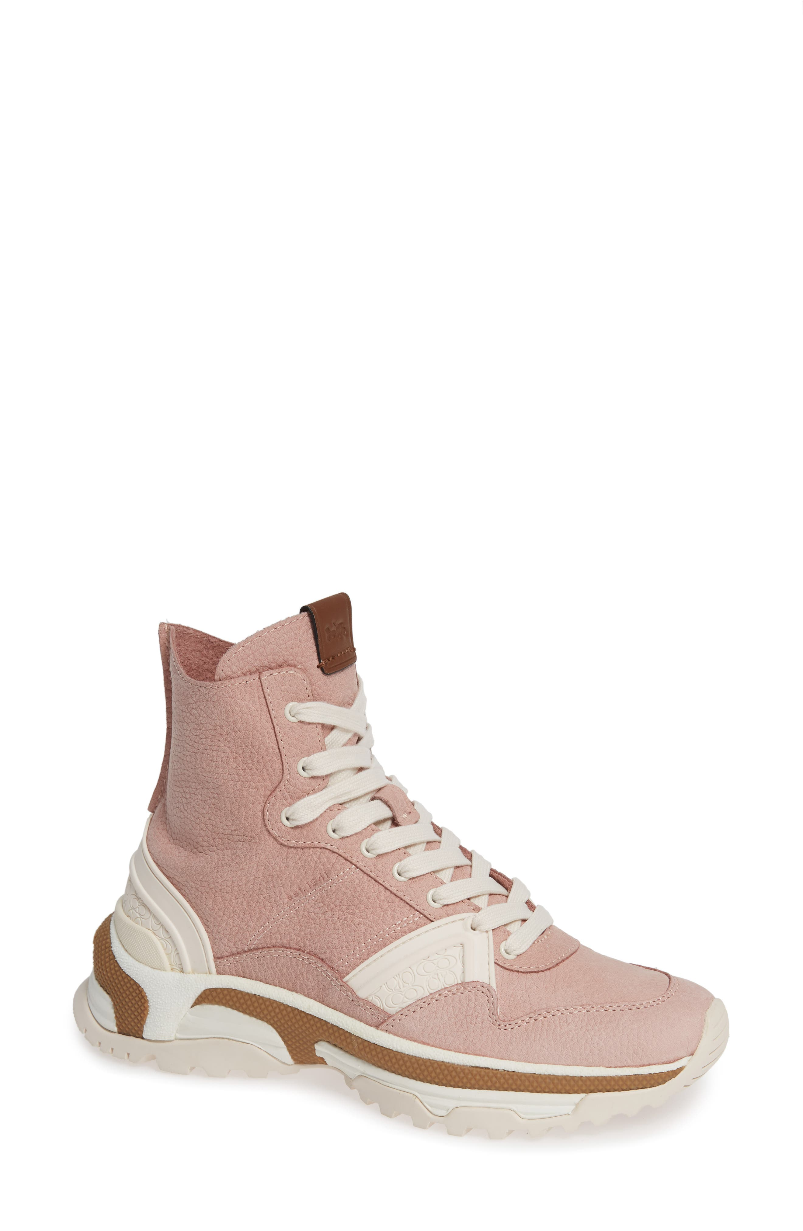 COACH High Top Sneaker, Main, color, BLUSH PINK NUBUCK LEATHER