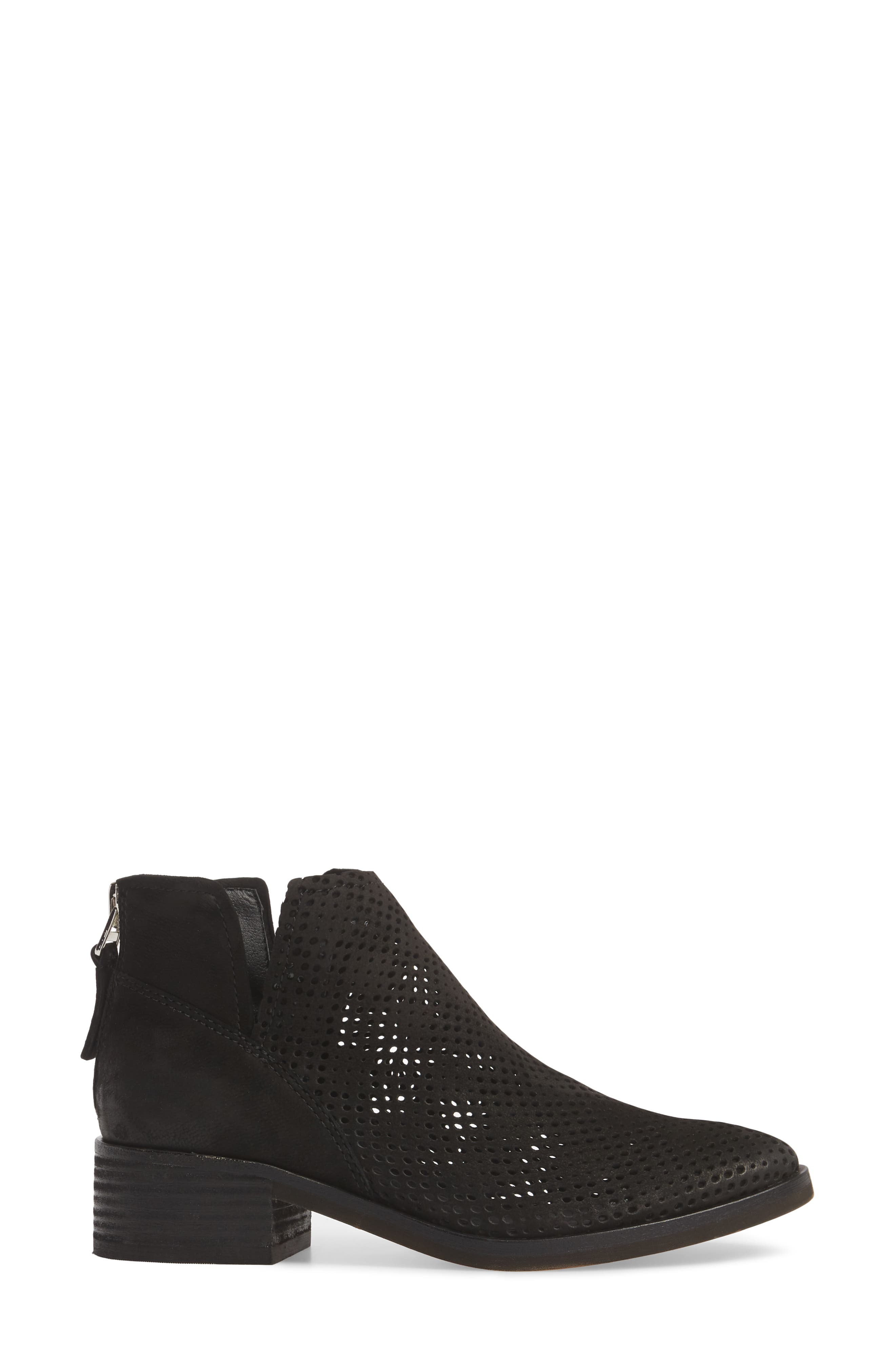 Tommi Perforated Bootie,                             Alternate thumbnail 3, color,                             BLACK NUBUCK
