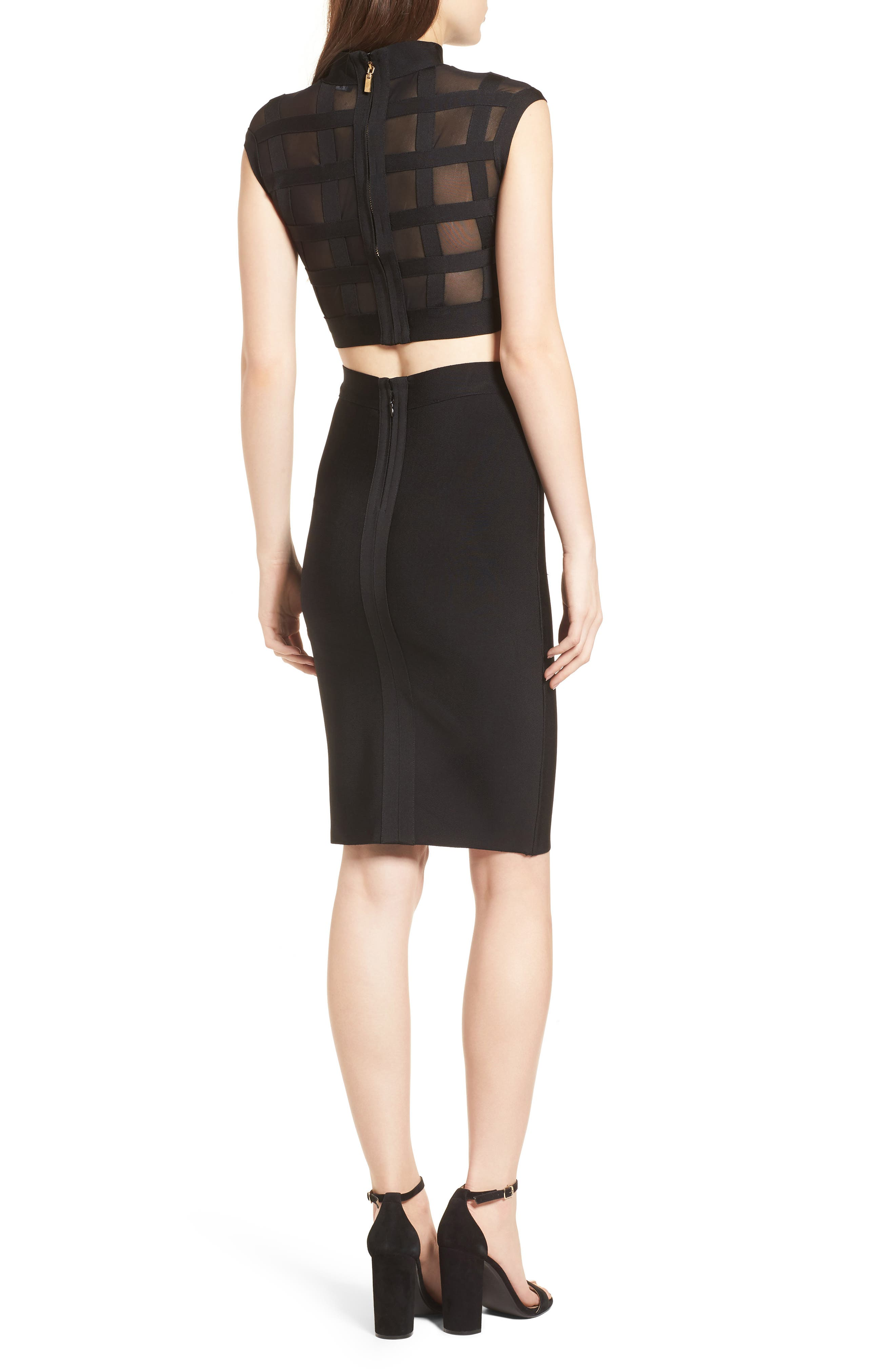 Cagebird Two-Piece Body-Con Dress,                             Alternate thumbnail 2, color,                             BLACK