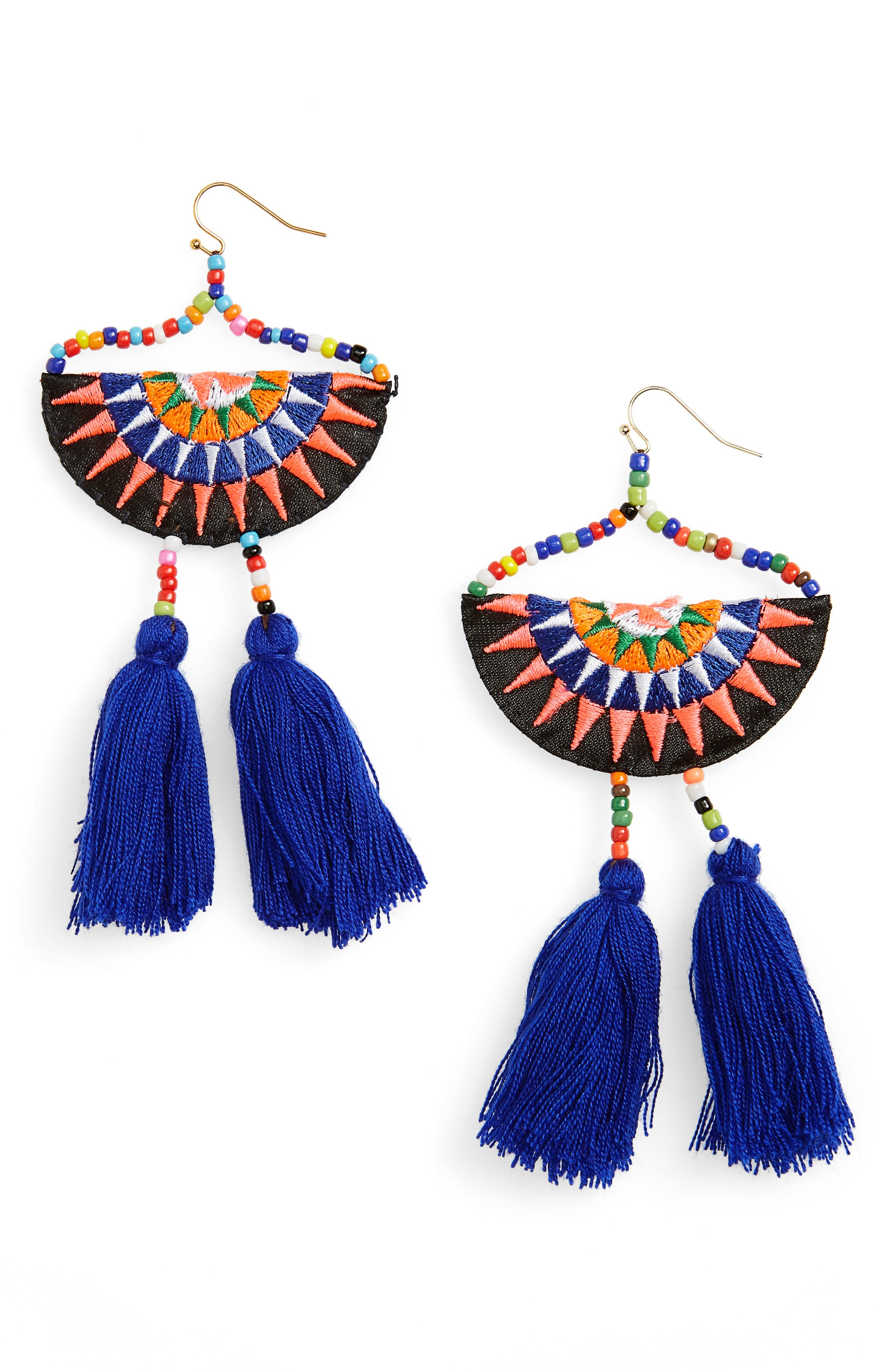 Tassel Embroidered Earrings, Main, color, 400