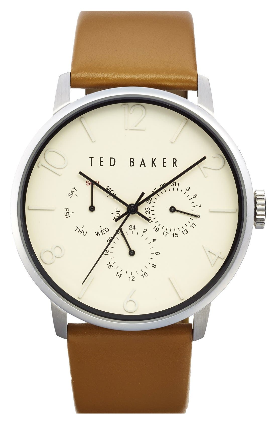Multifunction Leather Strap Watch, 42mm,                         Main,                         color, BROWN/ BEIGE